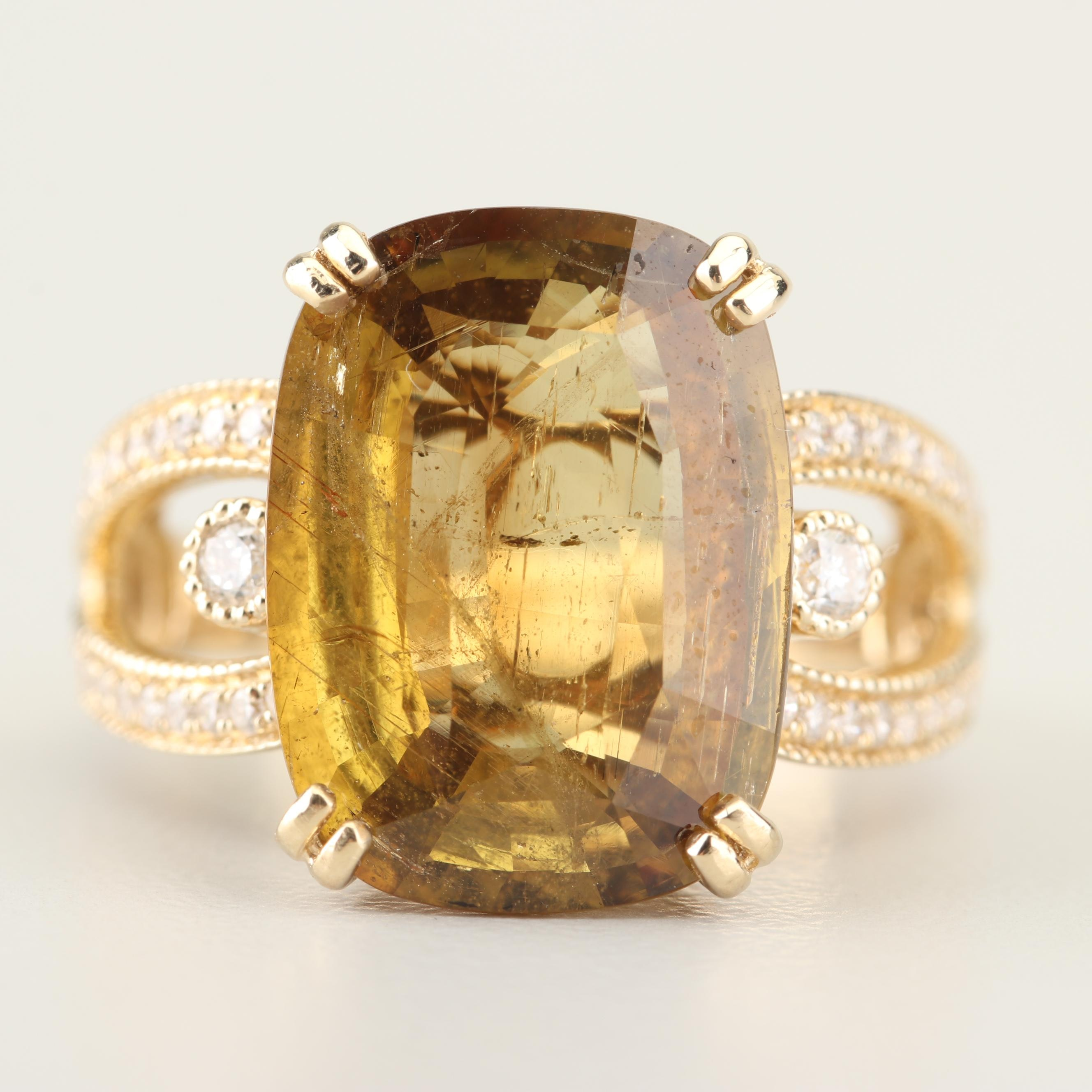 14K Yellow Gold 9.56 CT Alexandrite and Diamond Ring with GIA Report