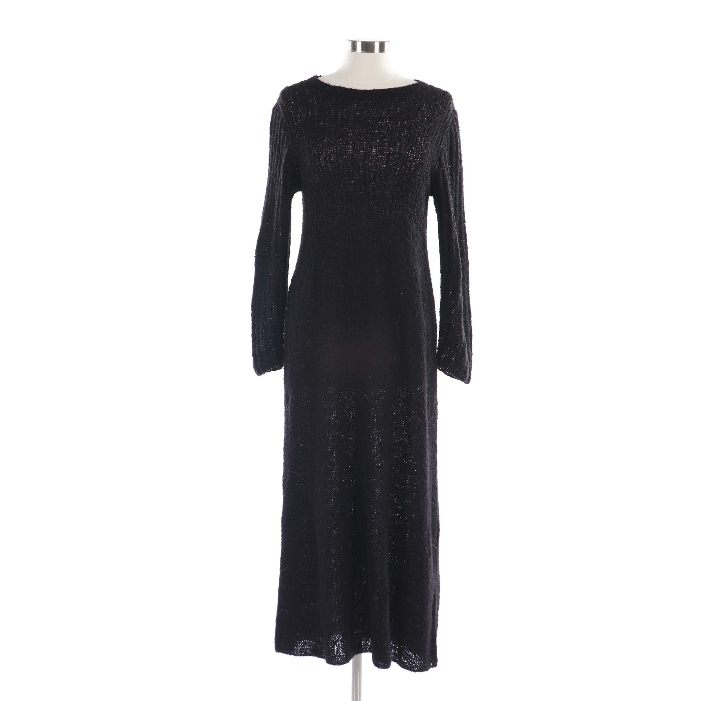 Women's Robin Richman Black Wool Long Sleeve Sweater Dress
