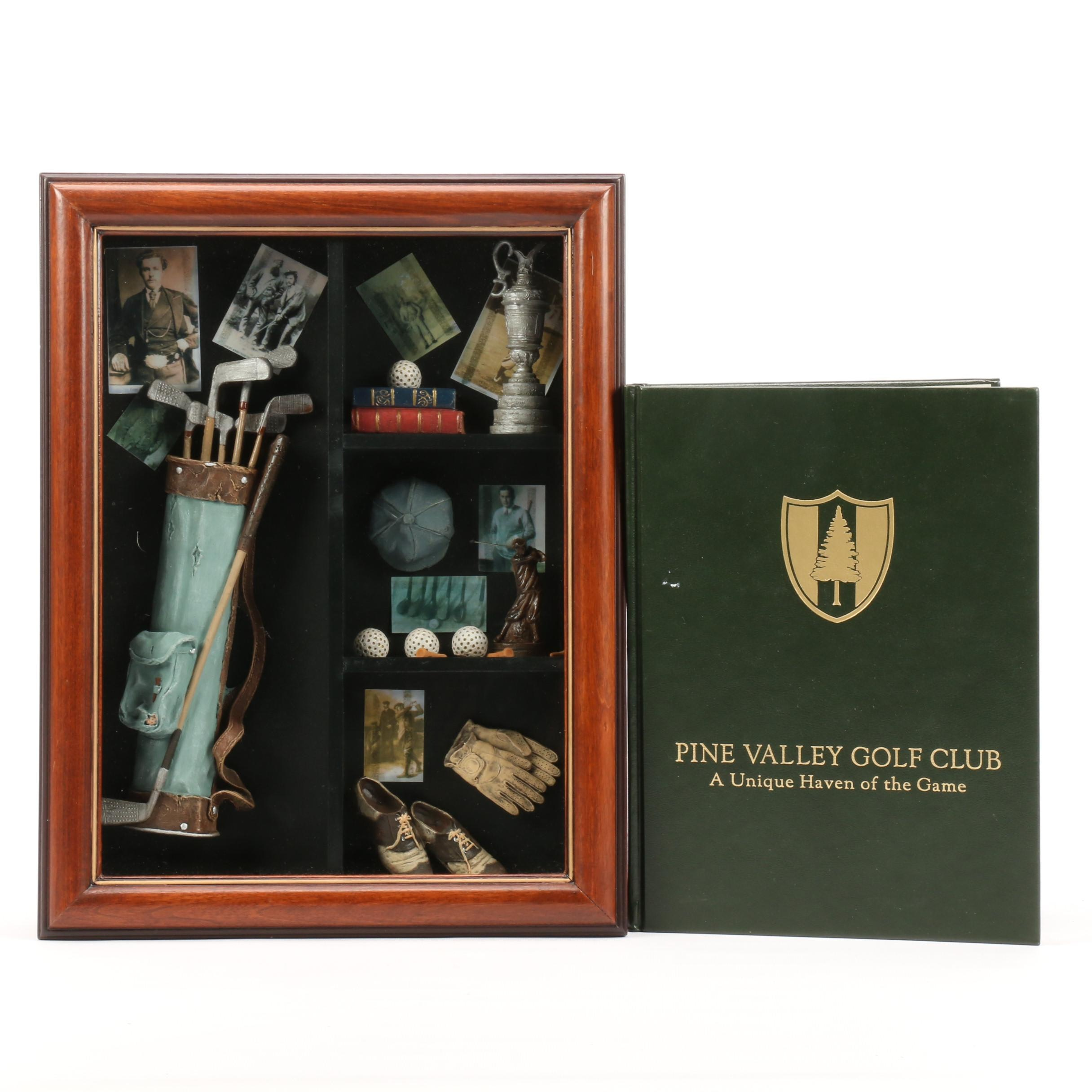 "Golf-Themed Shadowbox and 2000 ""Pine Valley Club"" Book"