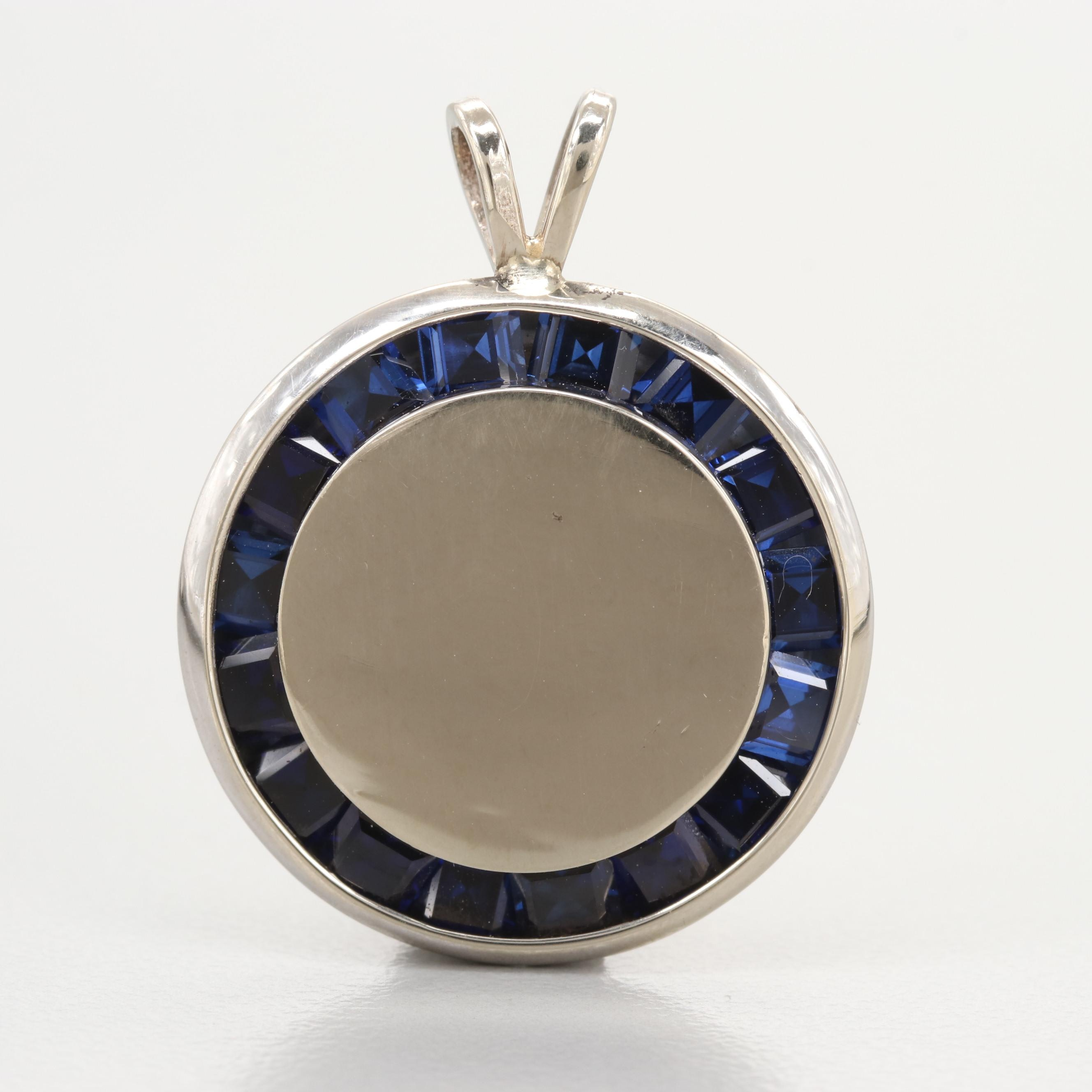 14K White Gold Synthetic Sapphire Pendant