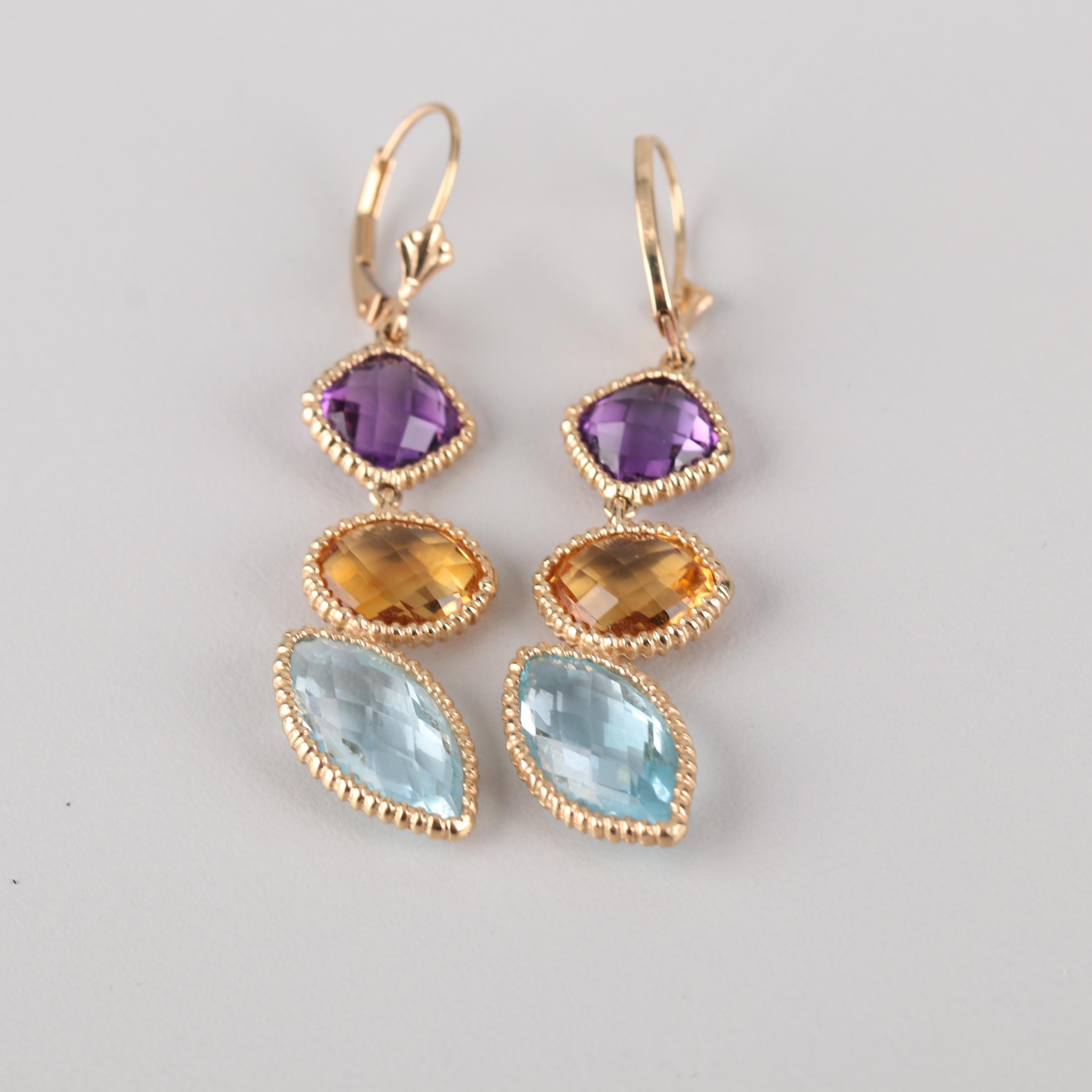 14K Yellow Gold Blue Topaz, Citrine, and Amethyst Earrings