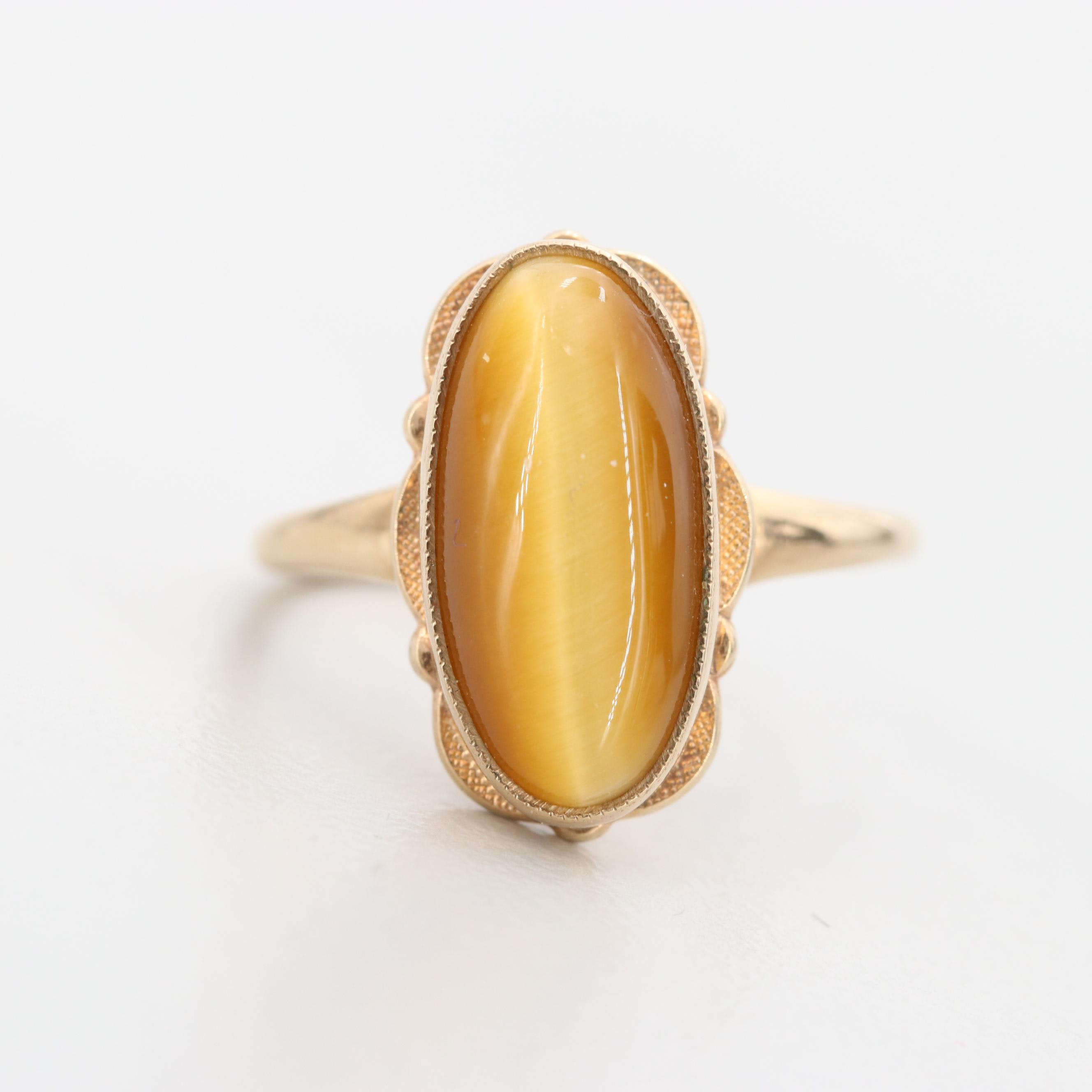 Vintage 10K Yellow Gold Tiger's Eye Ring