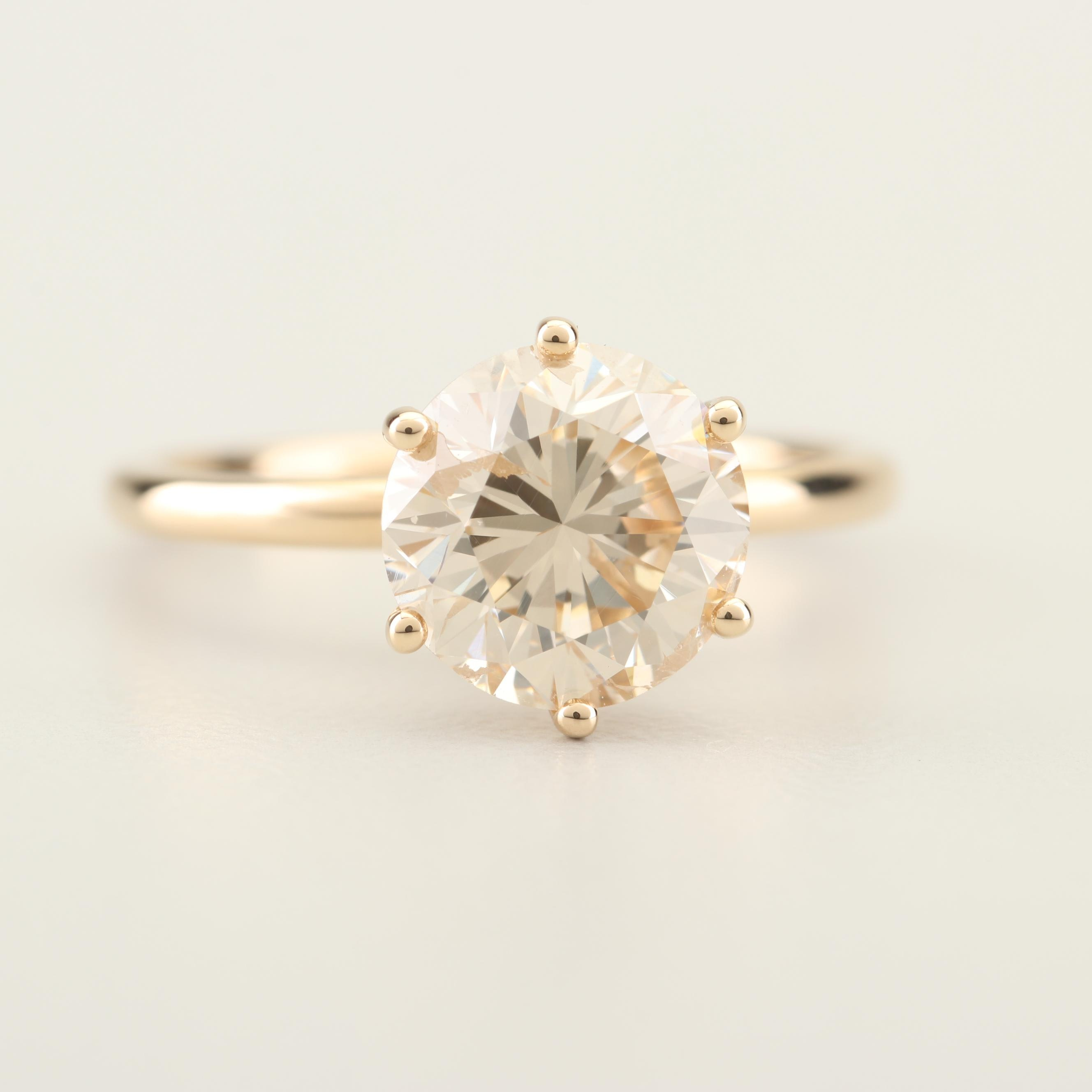 14K Yellow Gold 2.40 CT Diamond Solitaire Ring