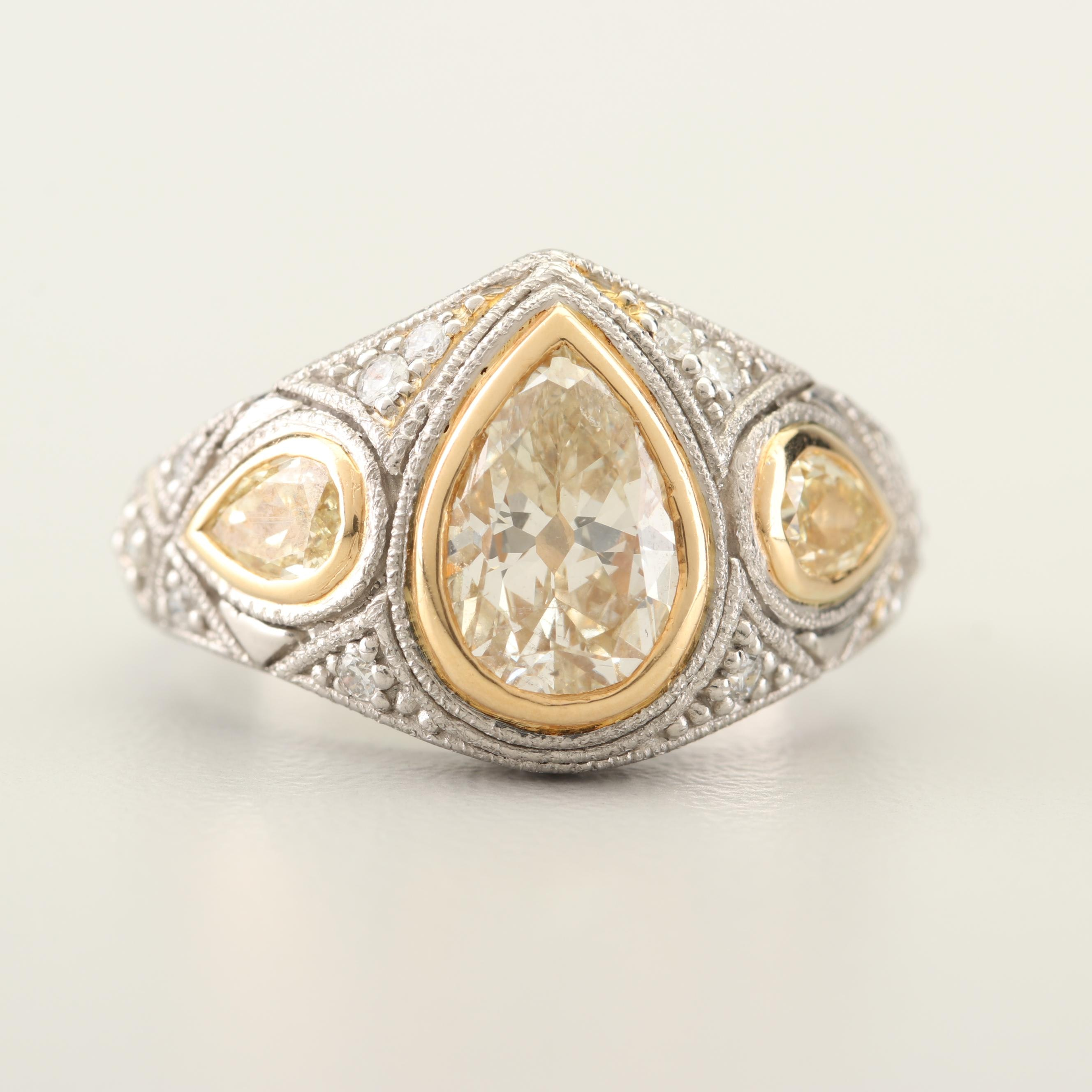 Platinum and 18K Yellow Gold 2.28 CTW Yellow Diamond and Diamond Ring