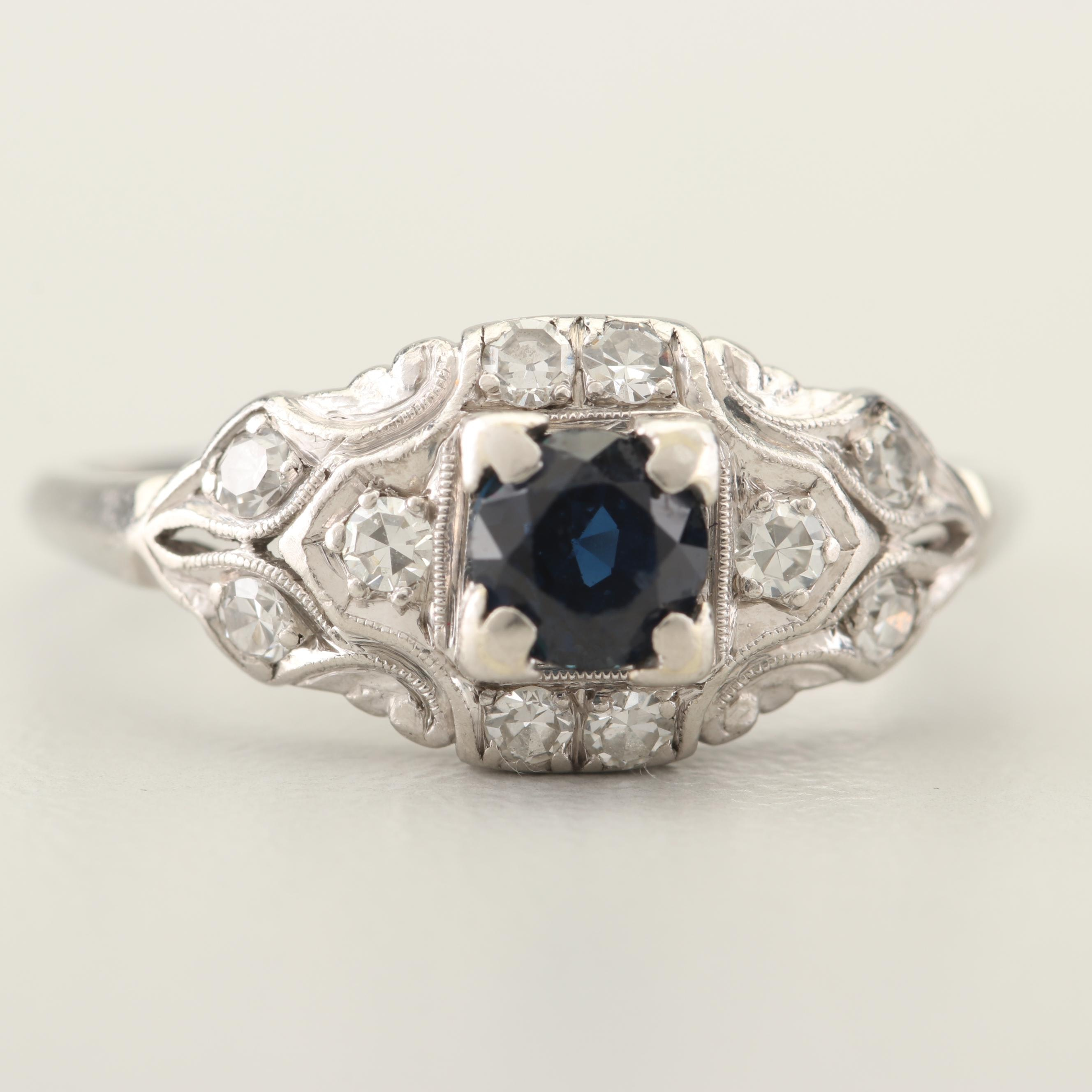 Circa 1930s Platinum Sapphire and Diamond Ring