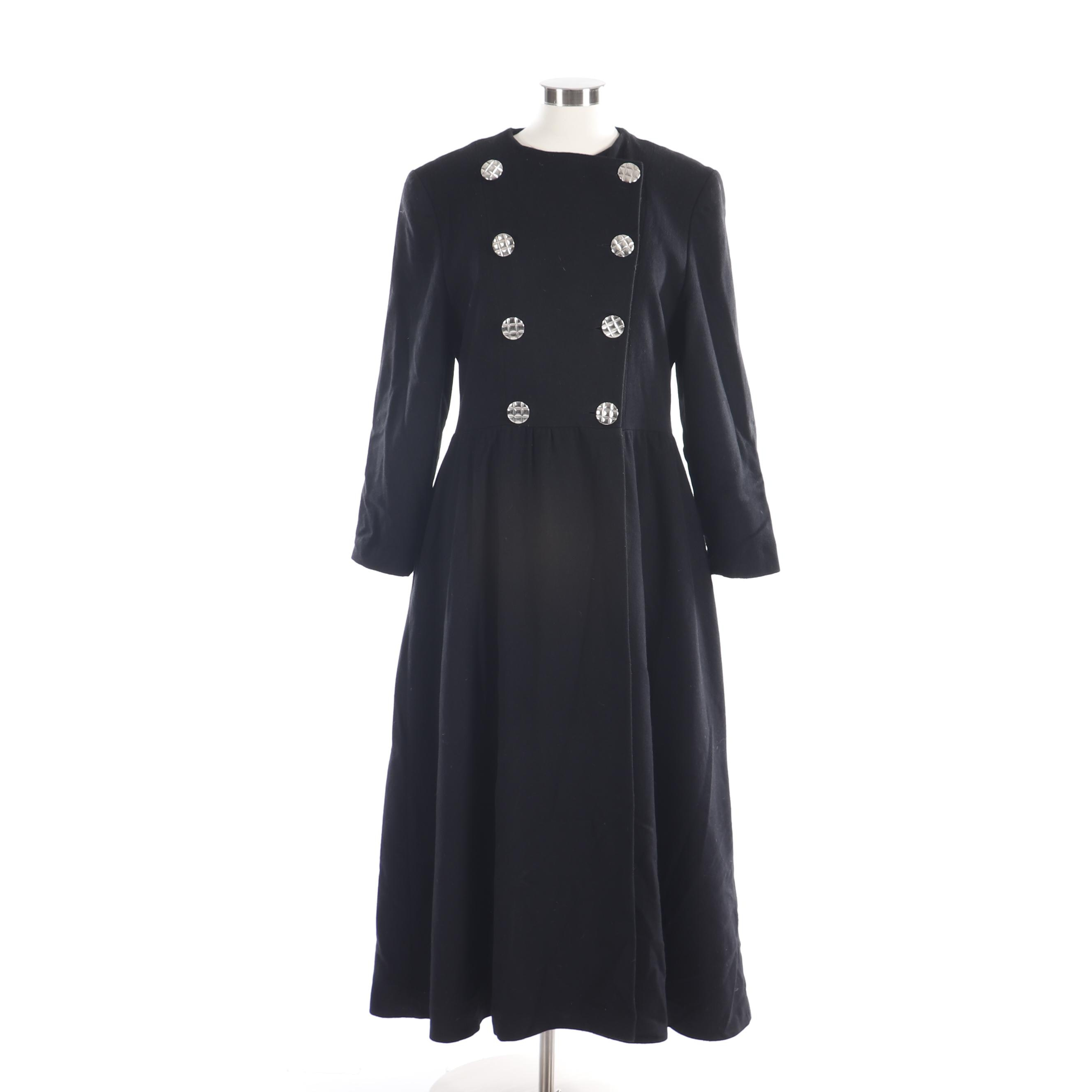 Marimekko Black Wool Double-Breasted Princess Coat, Made in Finland