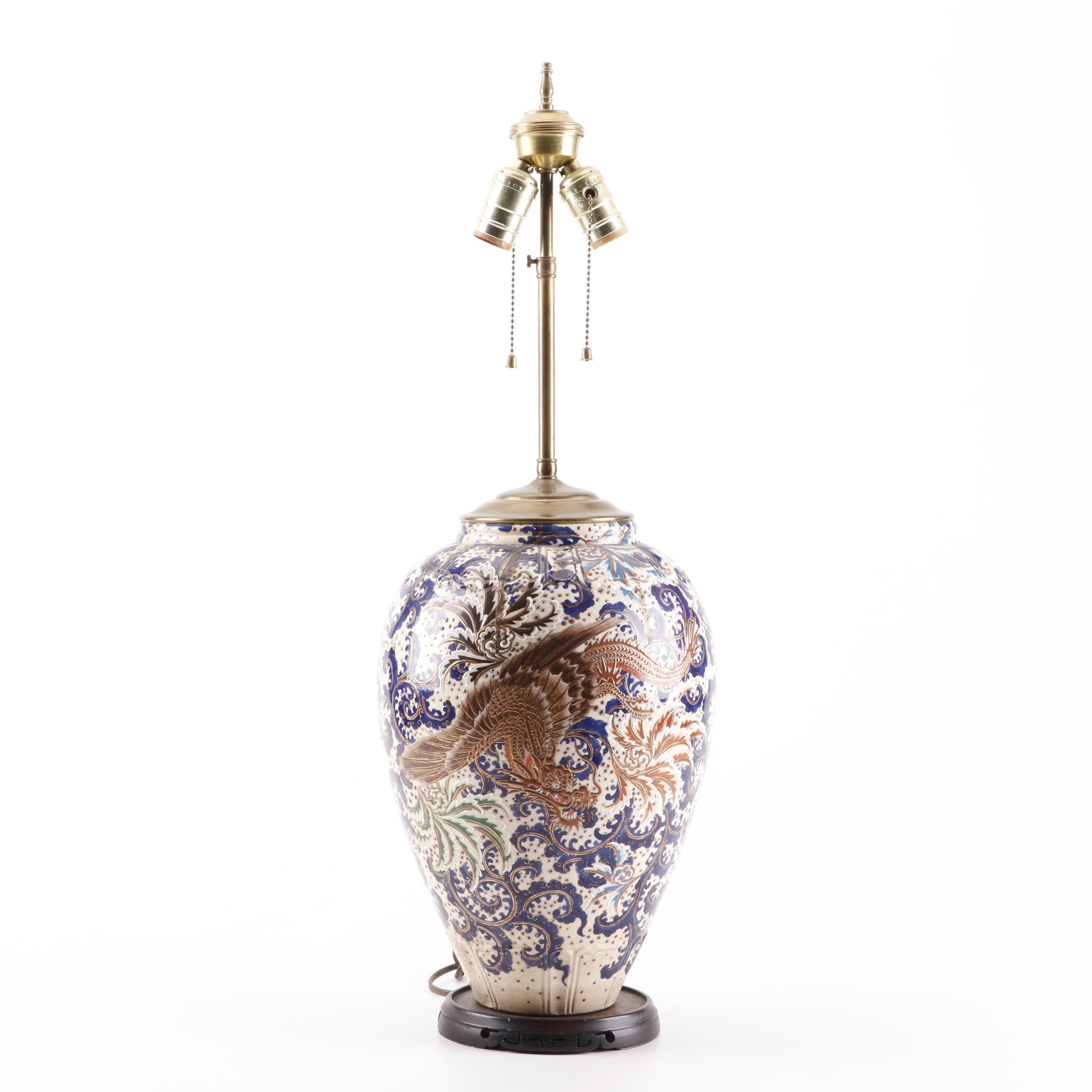 Japanese Satsuma Hand-Painted Ceramic Lamp with Dragon, Early 20th Century