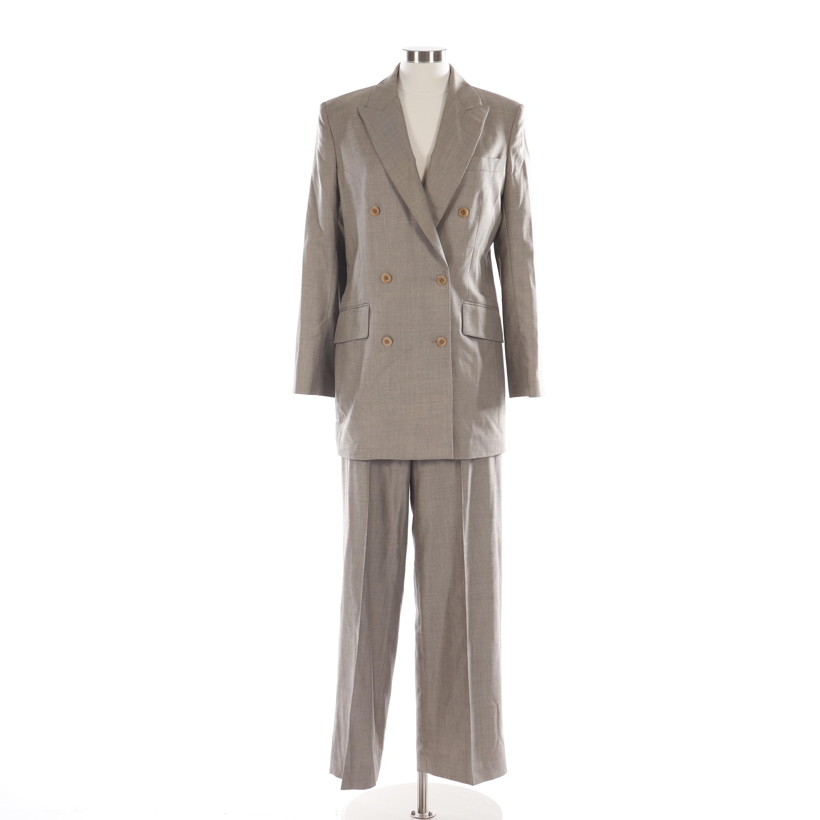 Women's Isaac Mizrahi Double-Breasted Silk and Wool Blend Pantsuit