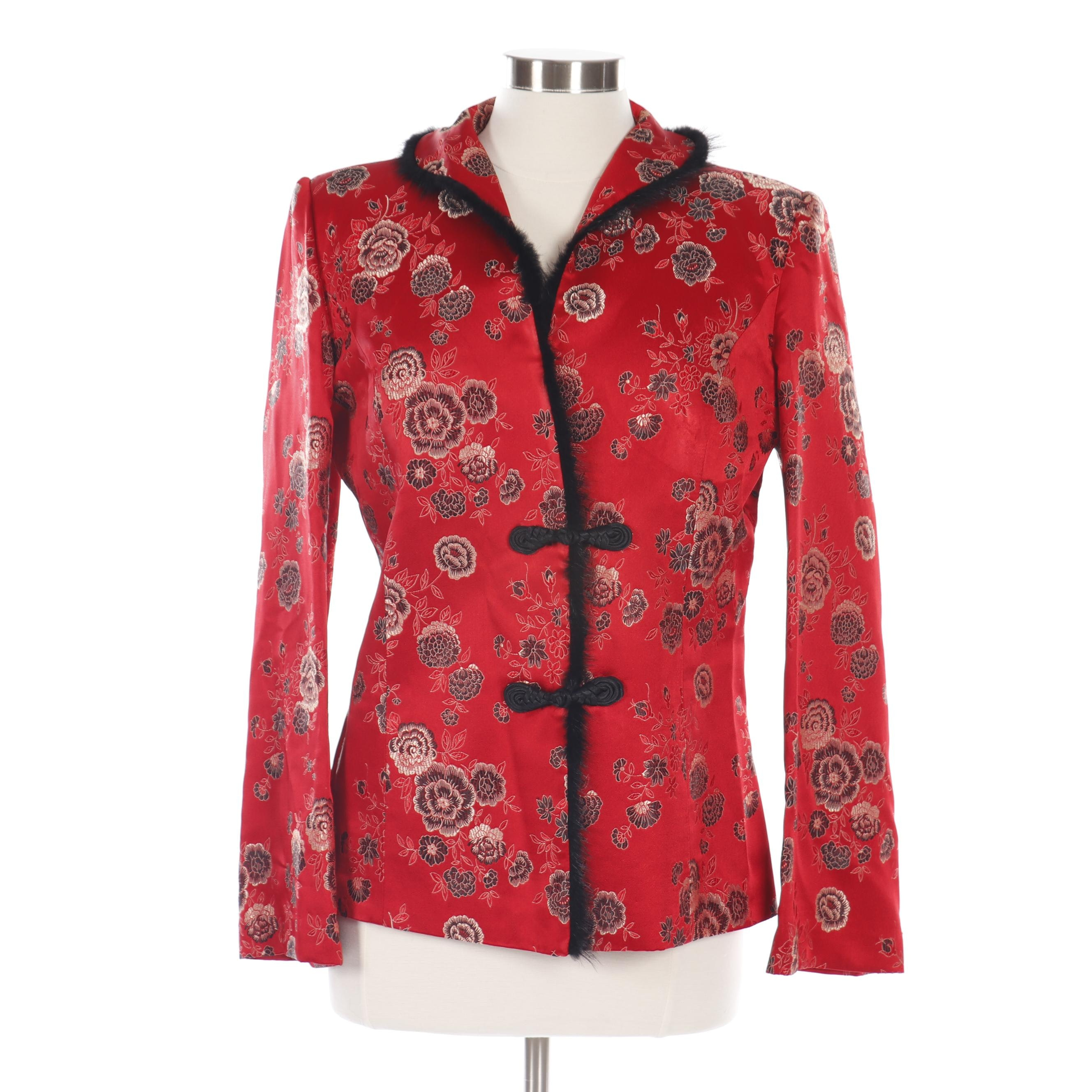 Women's Ling Yun Red Silk Blend Brocade Asian Jacket with Faux Fur Trim