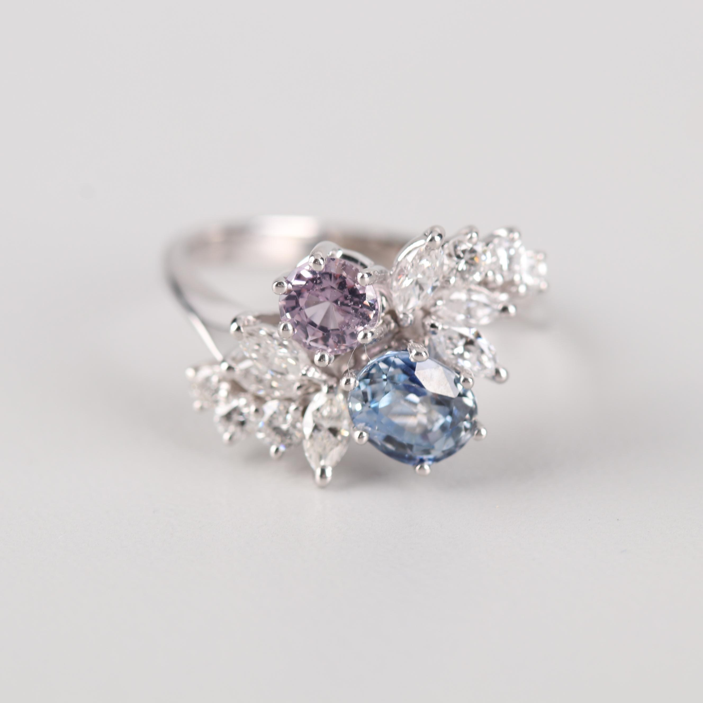18K White Gold Diamond, Sapphire, and Pink Topaz Ring