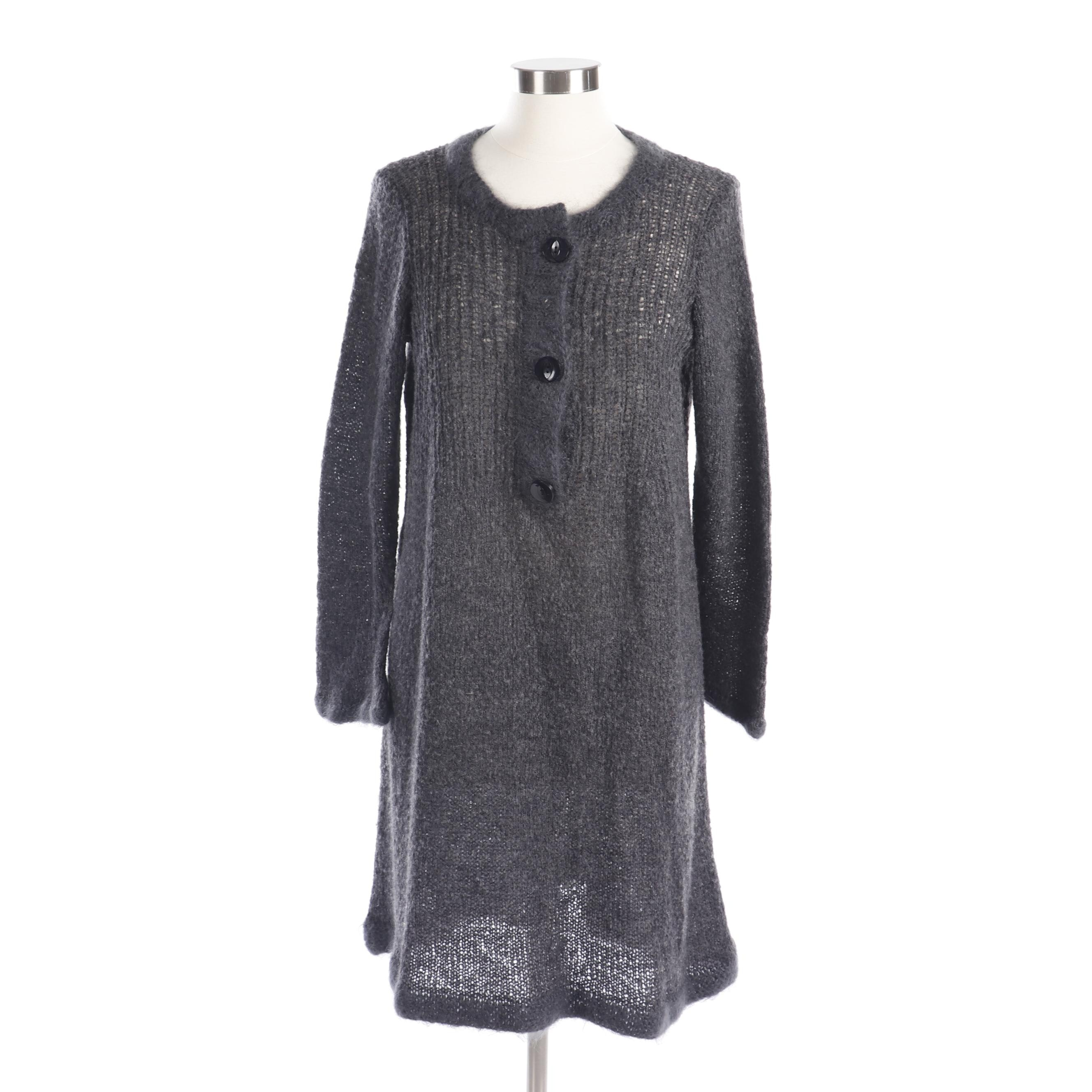 Women's Robin Richman Grey Wool Knit Sweater Dress