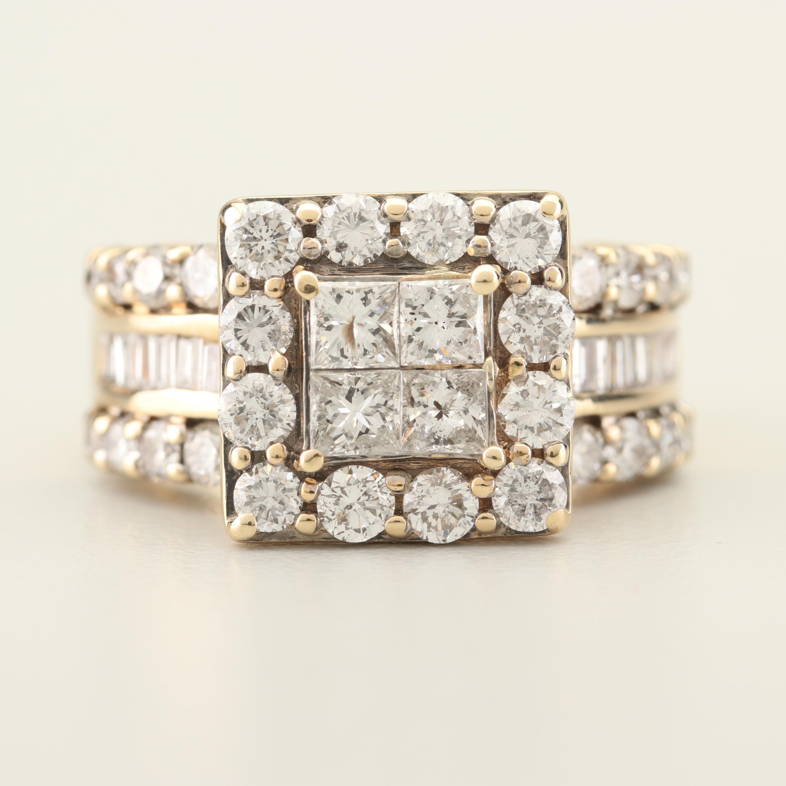 14K Yellow Gold 2.42 CTW Diamond Ring