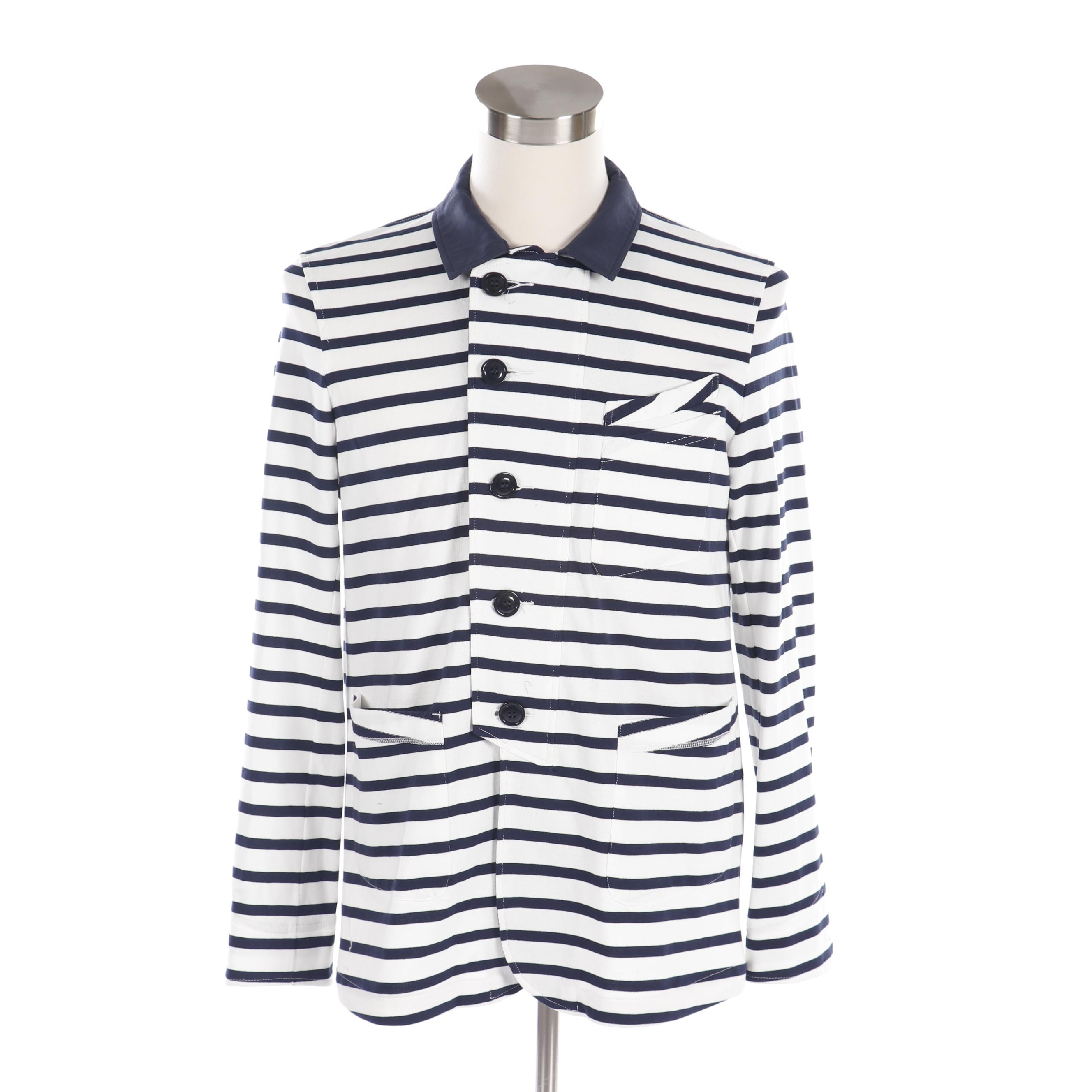 Men's Cash CA England Navy and White Striped Shirt Jacket