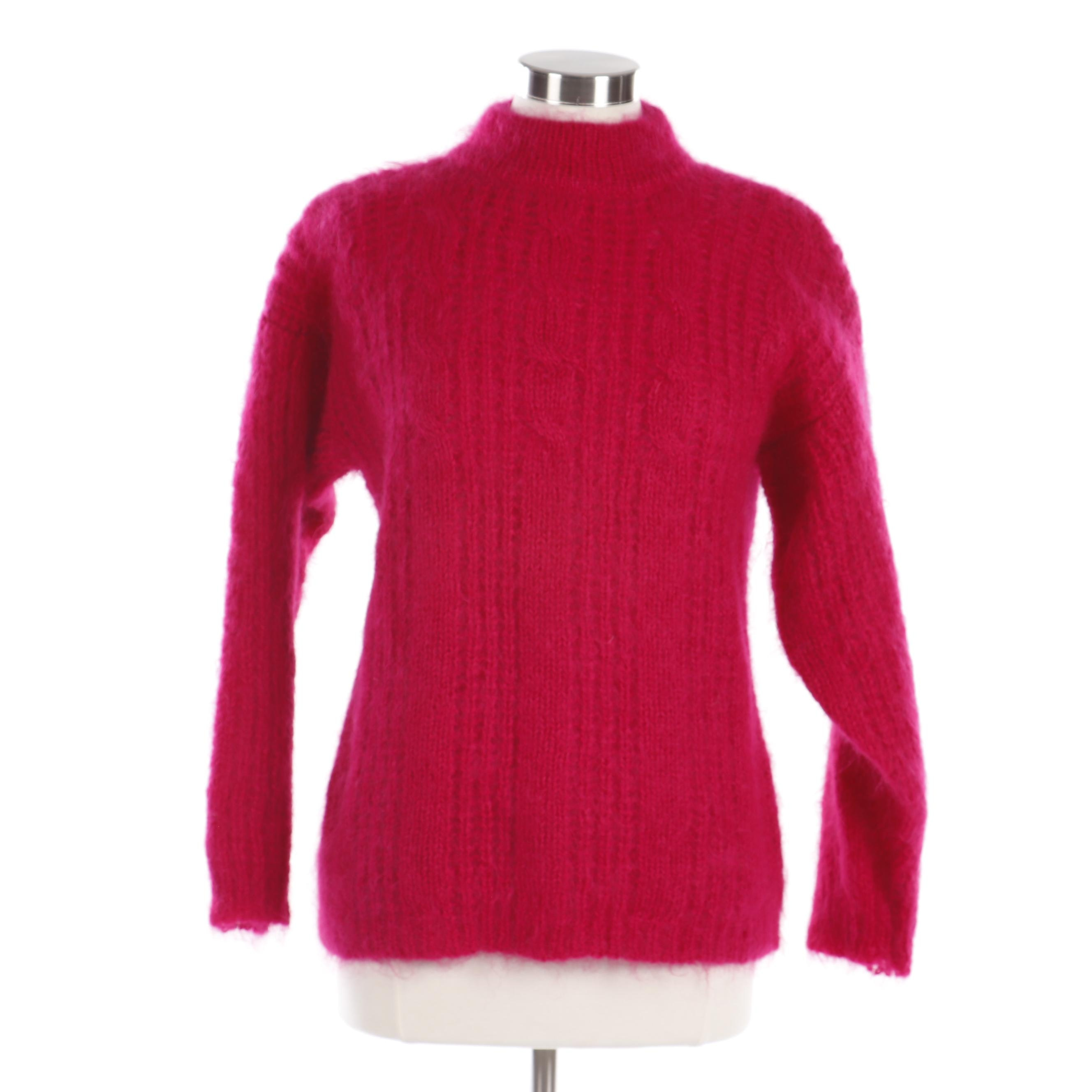 Women's Chelsea Young Fuchsia Wool Blend Knit Sweater
