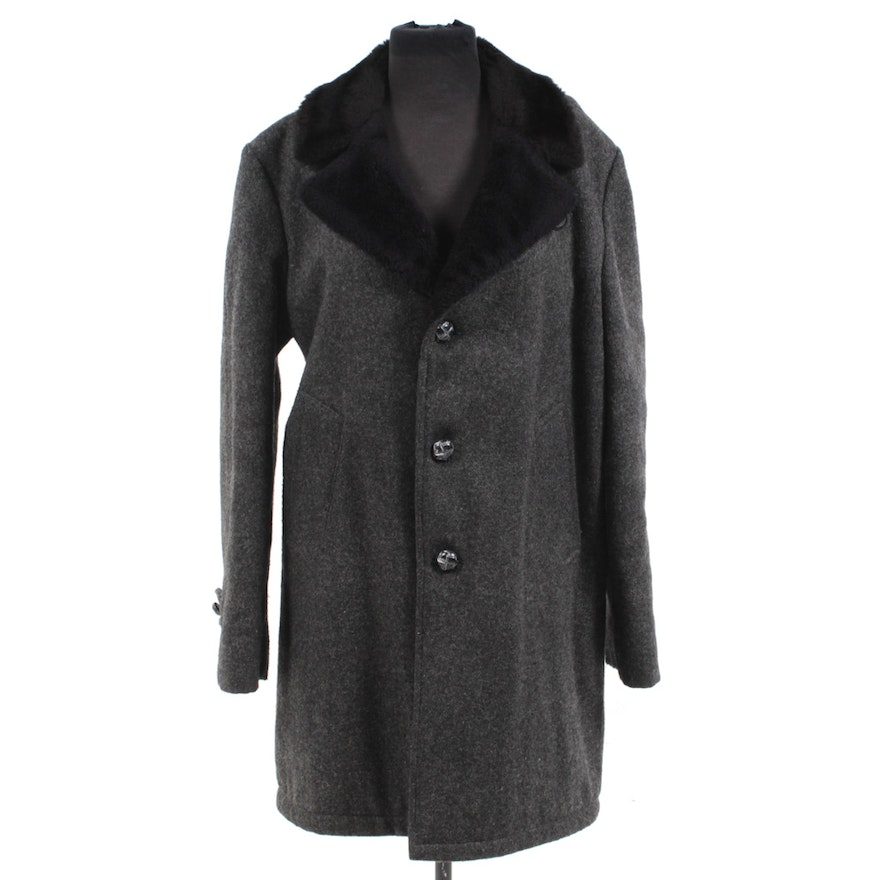 33e3dc4cbbc7 Men s Vintage Wool and Faux Shearling Overcoat   EBTH