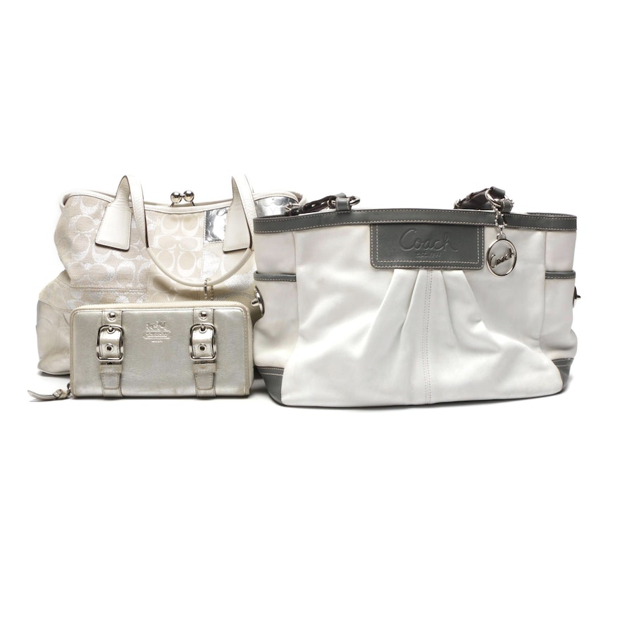 Coach Signature Canvas and Leather Totes and Coach Leather Wallet   EBTH d1db7309e5038
