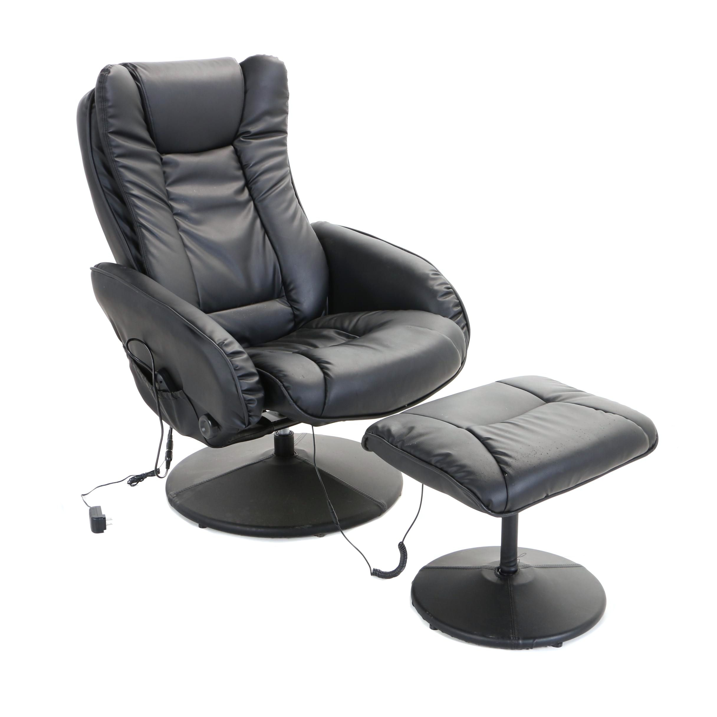 Contemporary Black Faux-Leather Vibrating Lounge Chair and Ottoman