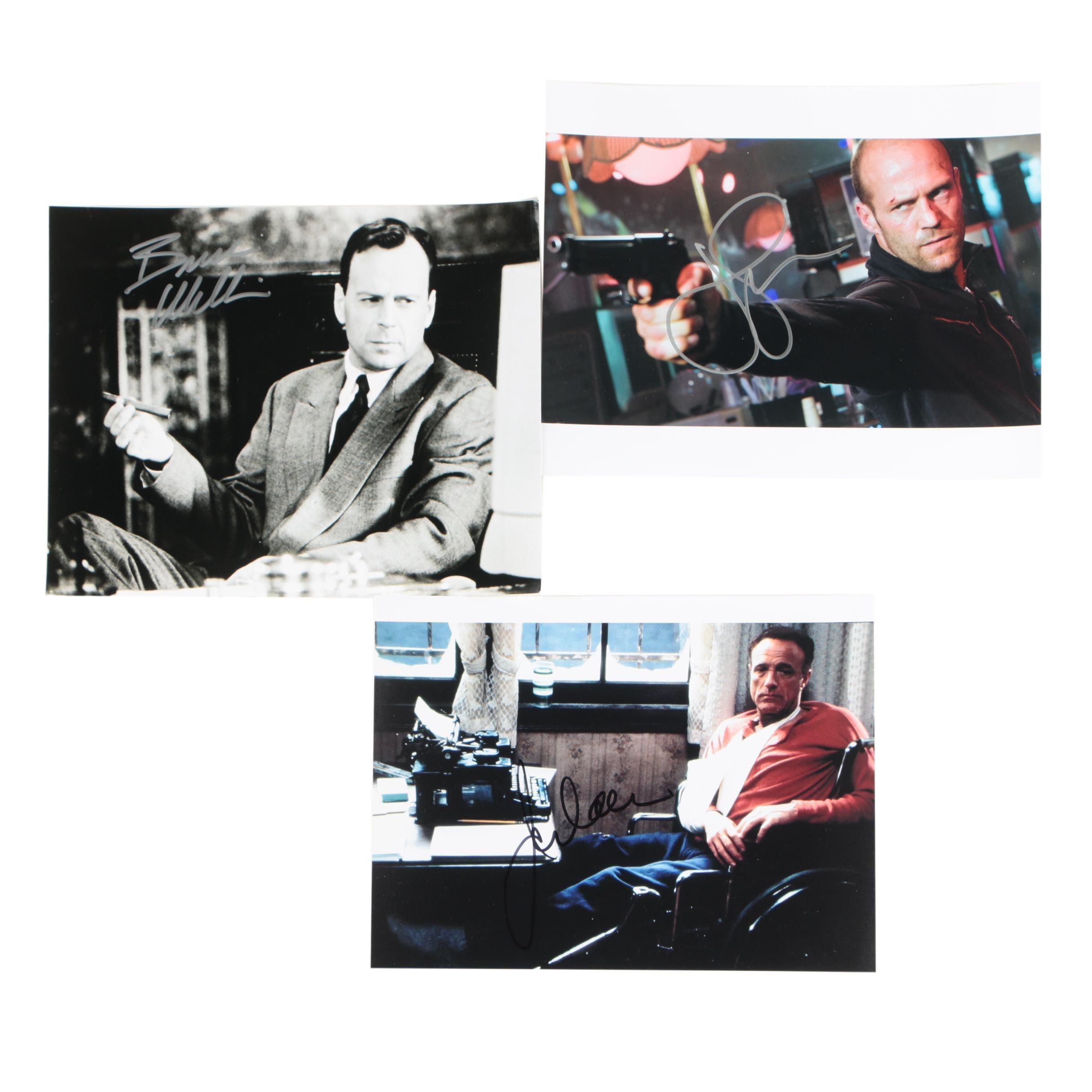 Bruce Willis, James Caan and Jason Statham Autographed Photos