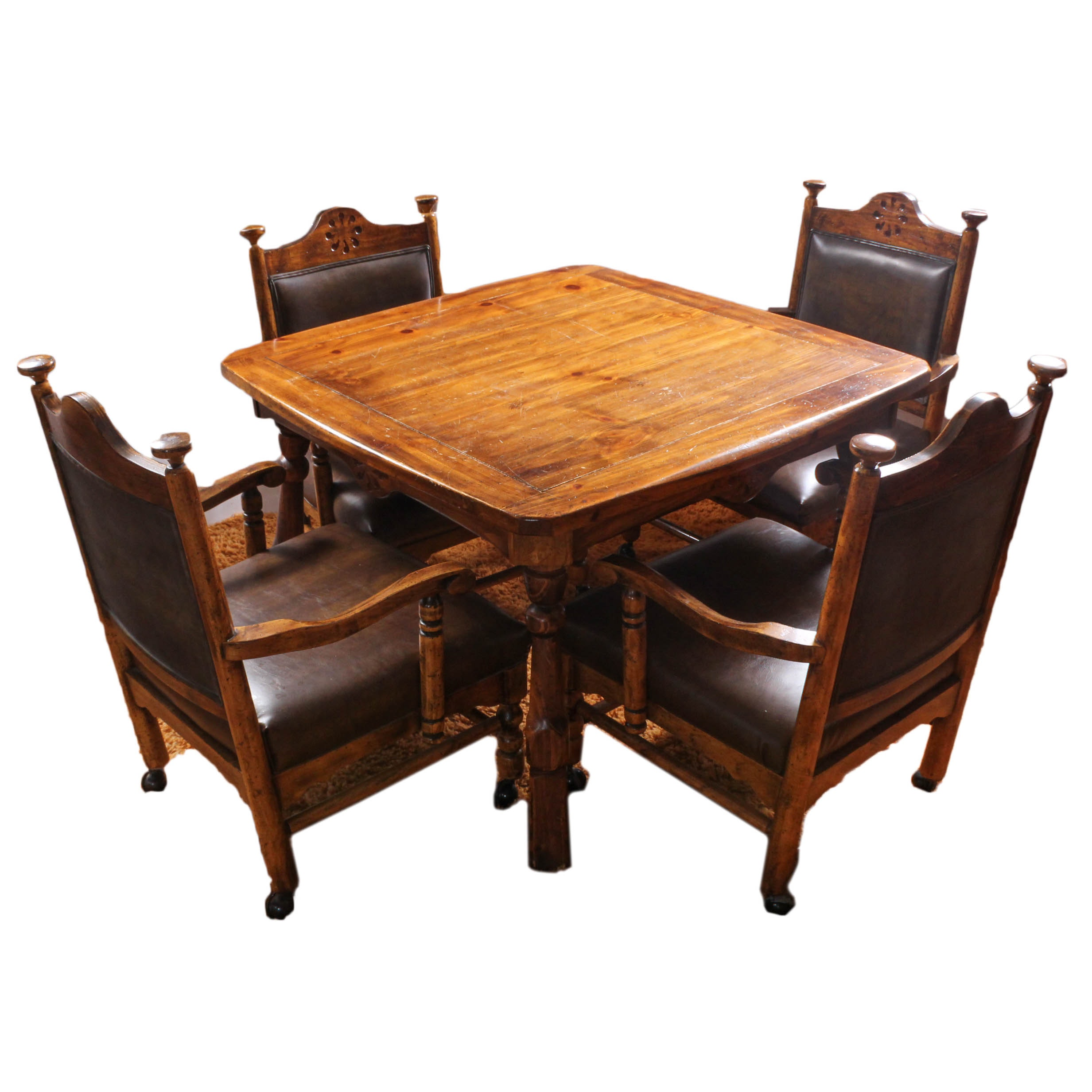 Vintage Wooden Table and Chair Set