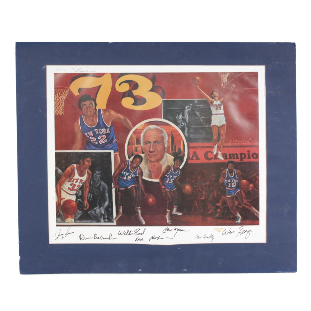 New York Knicks Poster with 1970s Autographs