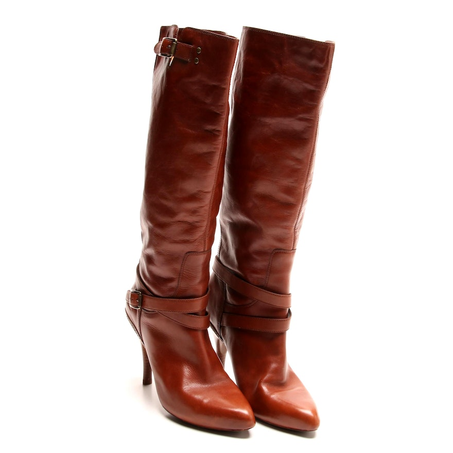 Cole Haan Cassidy Cognac Leather Nike Air Tall Boots with Buckles   EBTH b8fff49d2