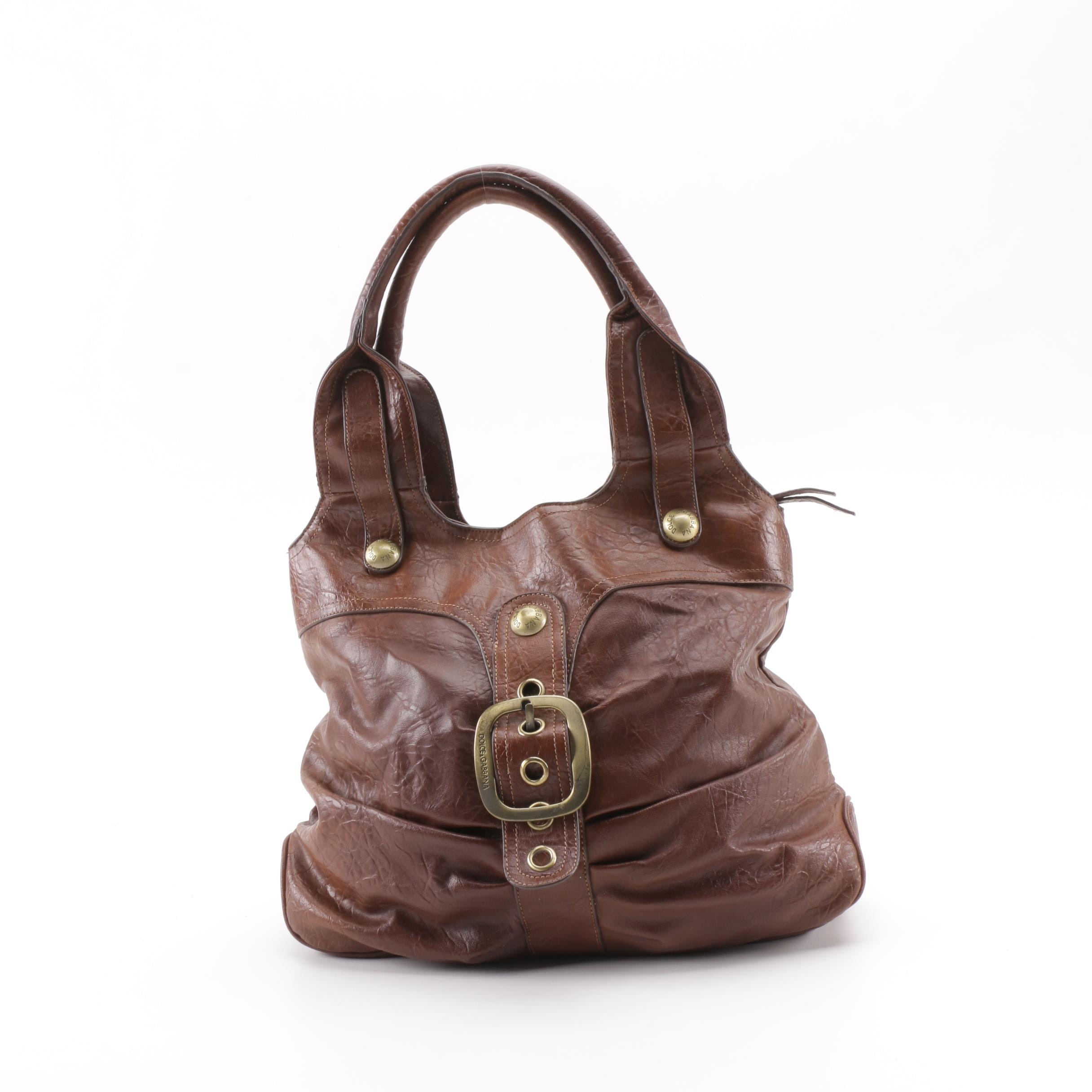 Dolce & Gabbana Brown Leather Buckle Front Shoulder Bag