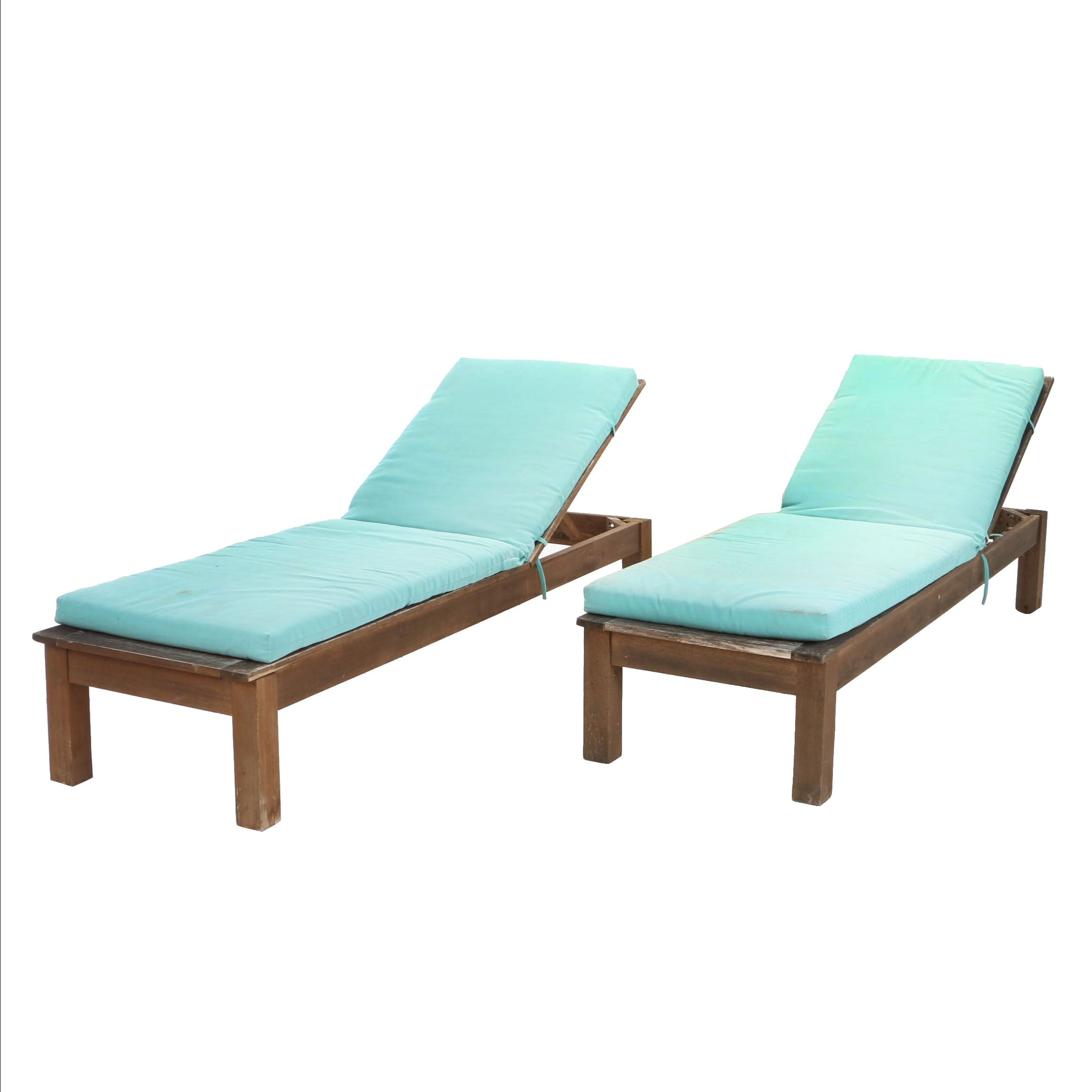 Pair of Contemporary Hardwood Patio Chaise Lounges by World Market
