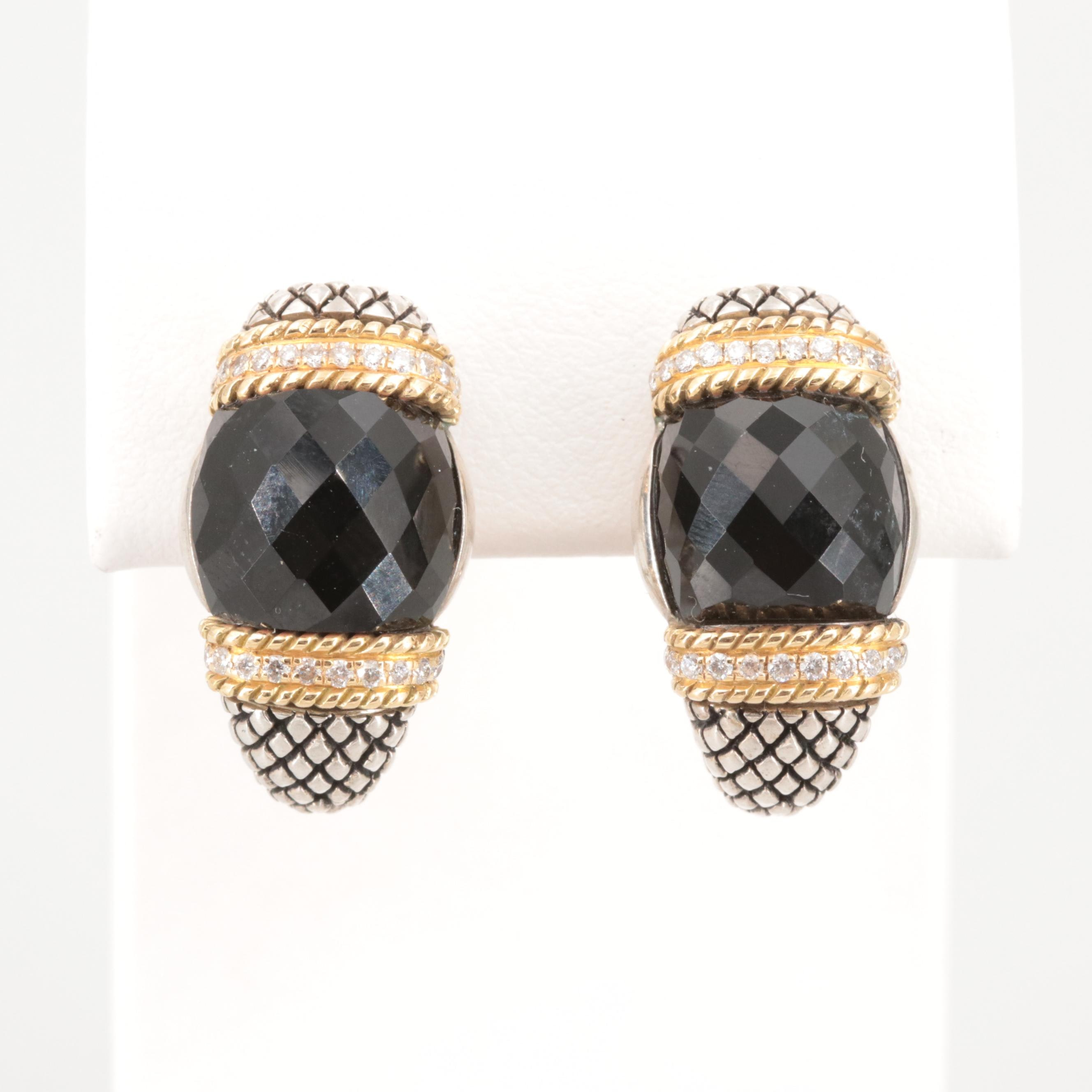 Andrea Candela Sterling Silver Black Onyx and Diamond Earrings with 18K Accents