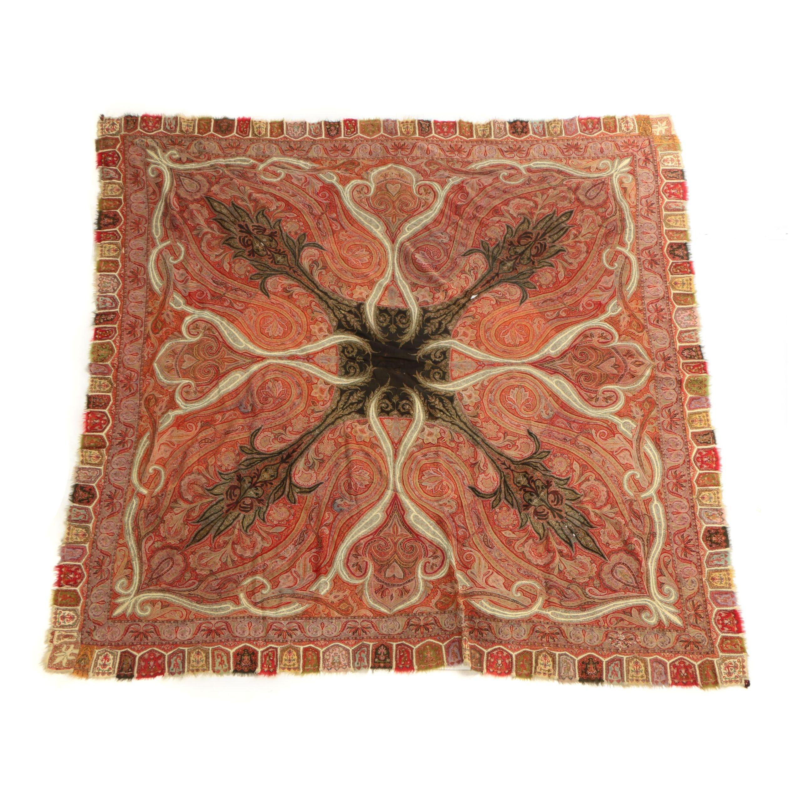 Indian Kashmiri Paisley Wool Shawl, Mid-19th Century