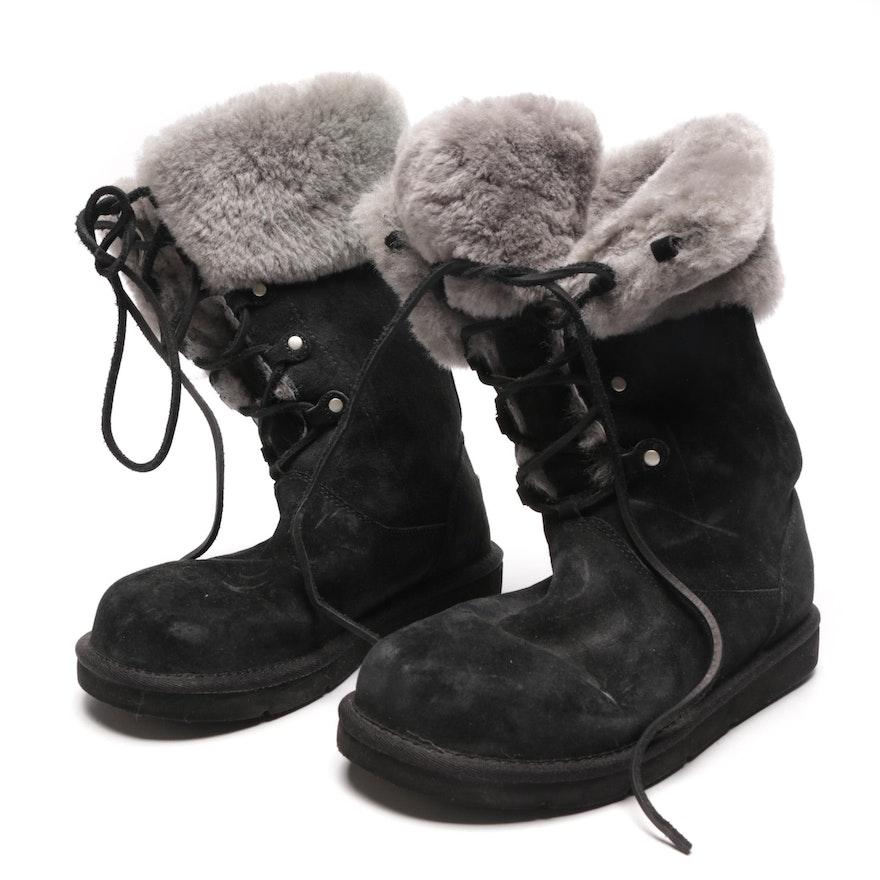 0fe3e07f70d Women's UGG Australia Black Sheepskin and Shearling Boots