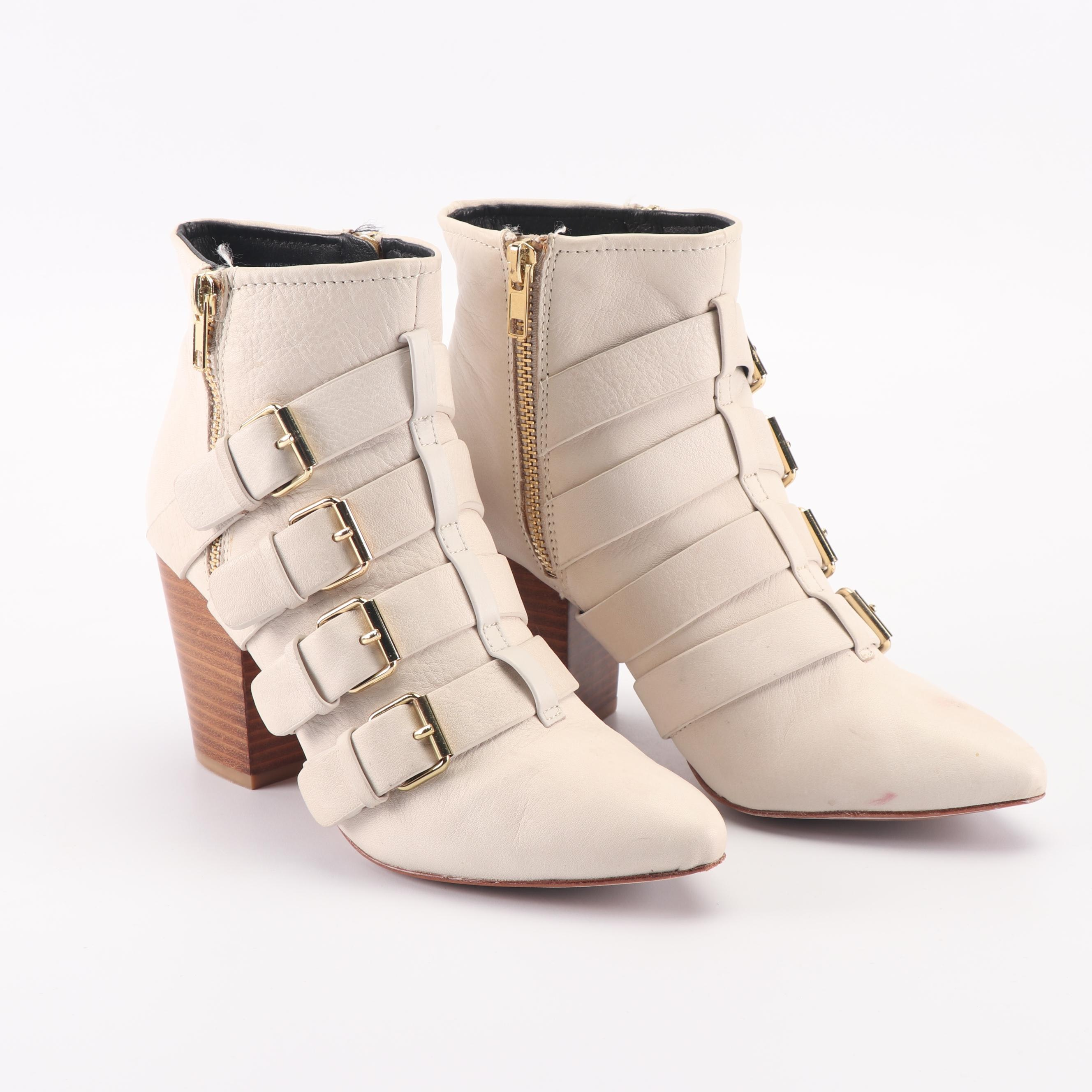 Rebecca Minkoff Off-White Leather Multi-Strap Ankle Booties