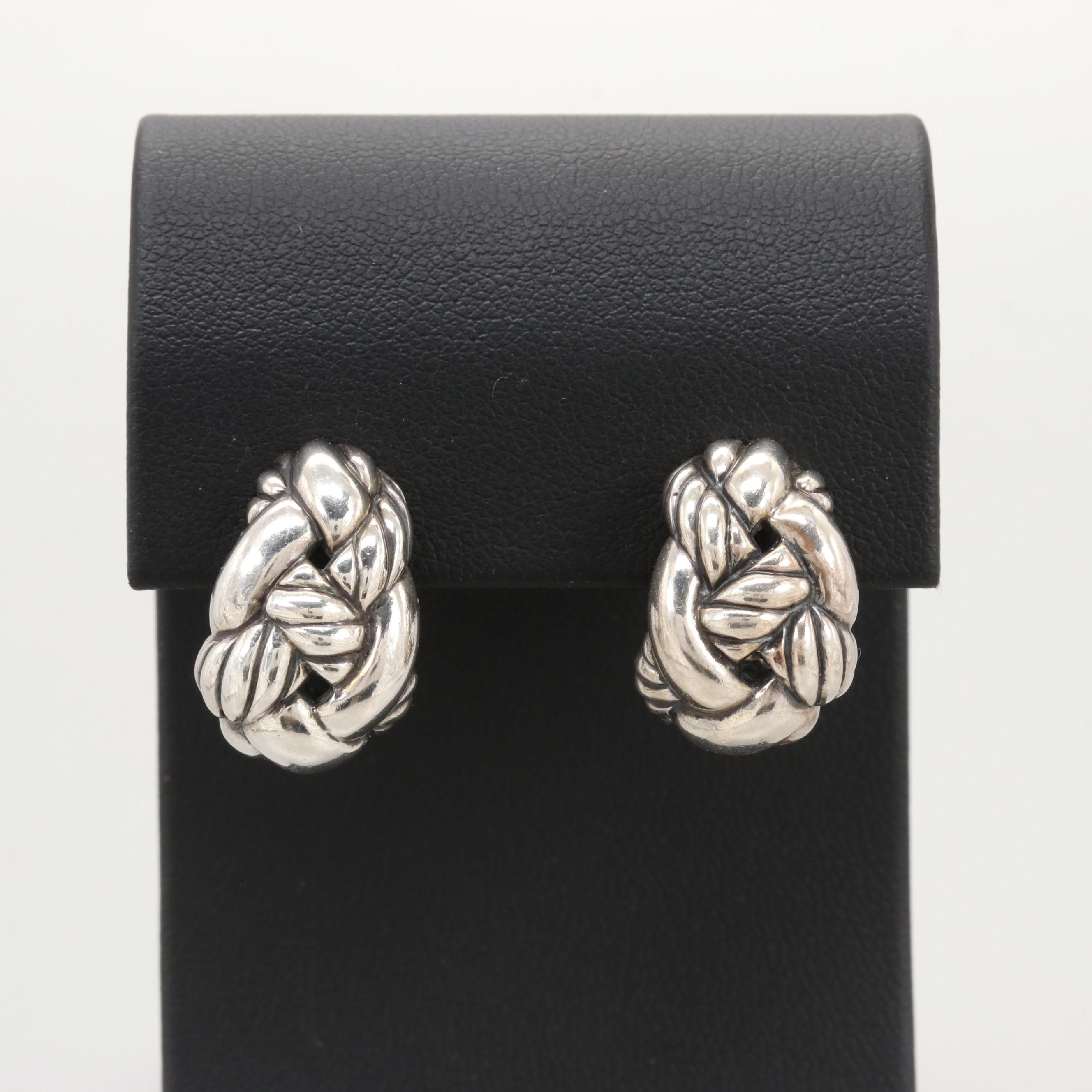 """David Yurman """"Woven Cable"""" Collection Sterling Silver Earrings"""
