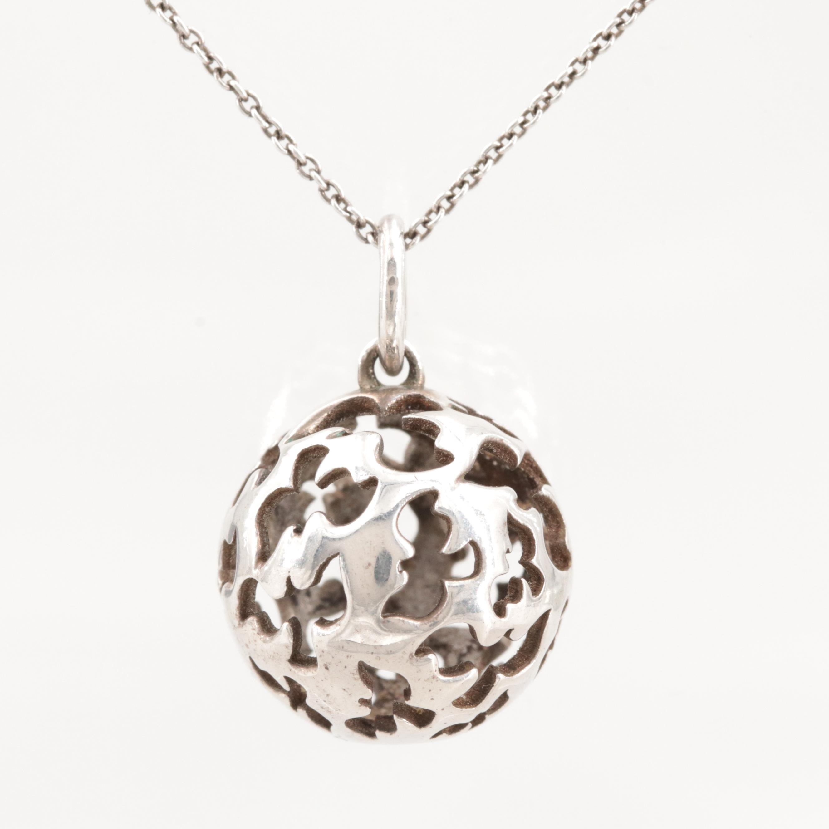 Paloma Picasso for Tiffany & Co. Sterling Silver Dove Sphere Pendant Necklace