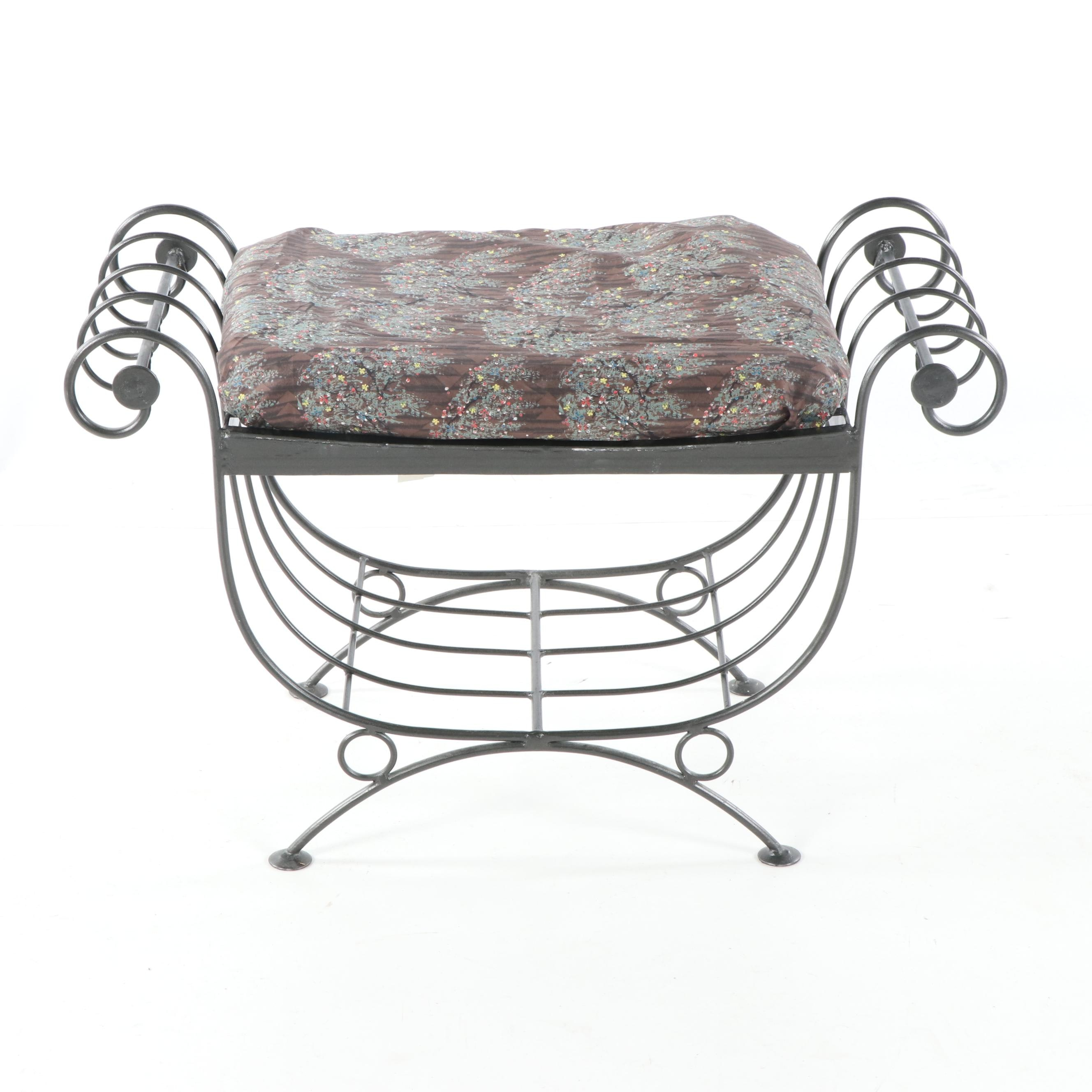 Forged Iron Curule Bench with Cushion, 21st Century