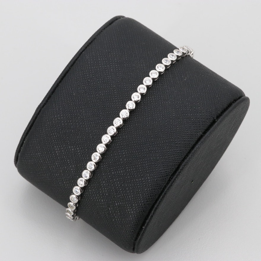 97e6955ea Sterling Silver Cubic Zirconia Slide Clasp Bracelet : EBTH