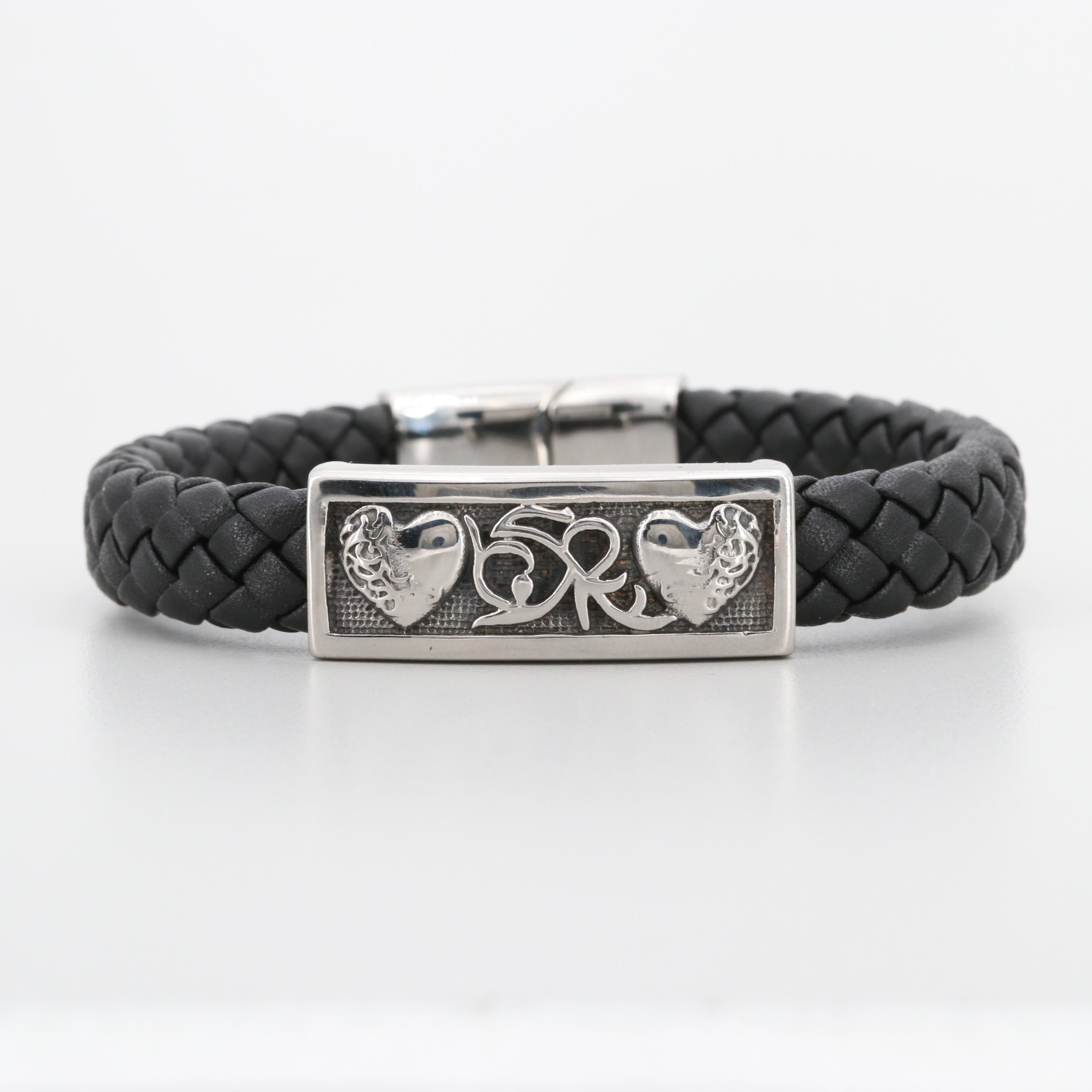 Silver Tone Leather Woven Bracelet