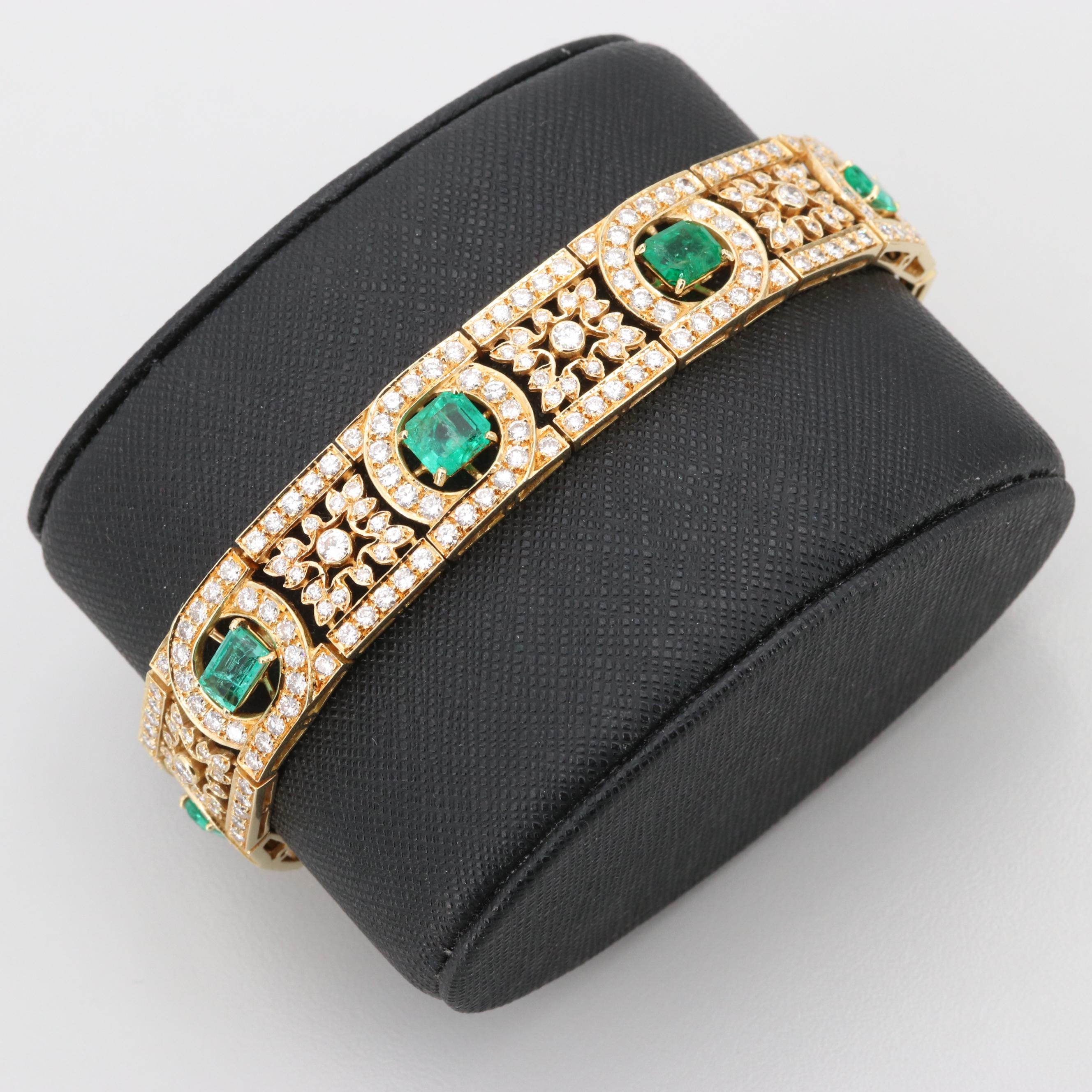 18K Yellow Gold 4.31 CTW Emerald and 7.45 CTW Diamond Linked Bracelet