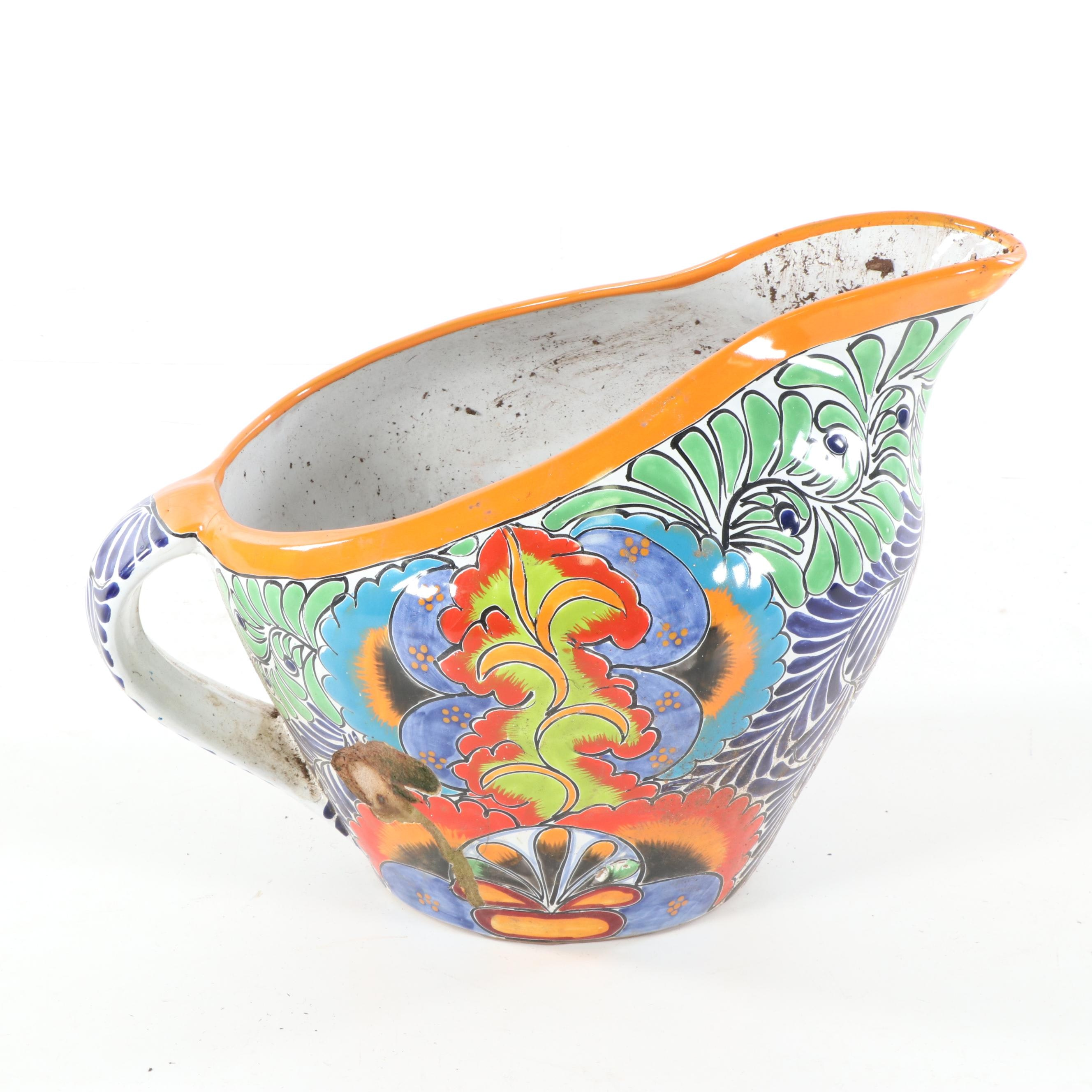 Hand-Painted Mexican Talaveras Earthenware Planter