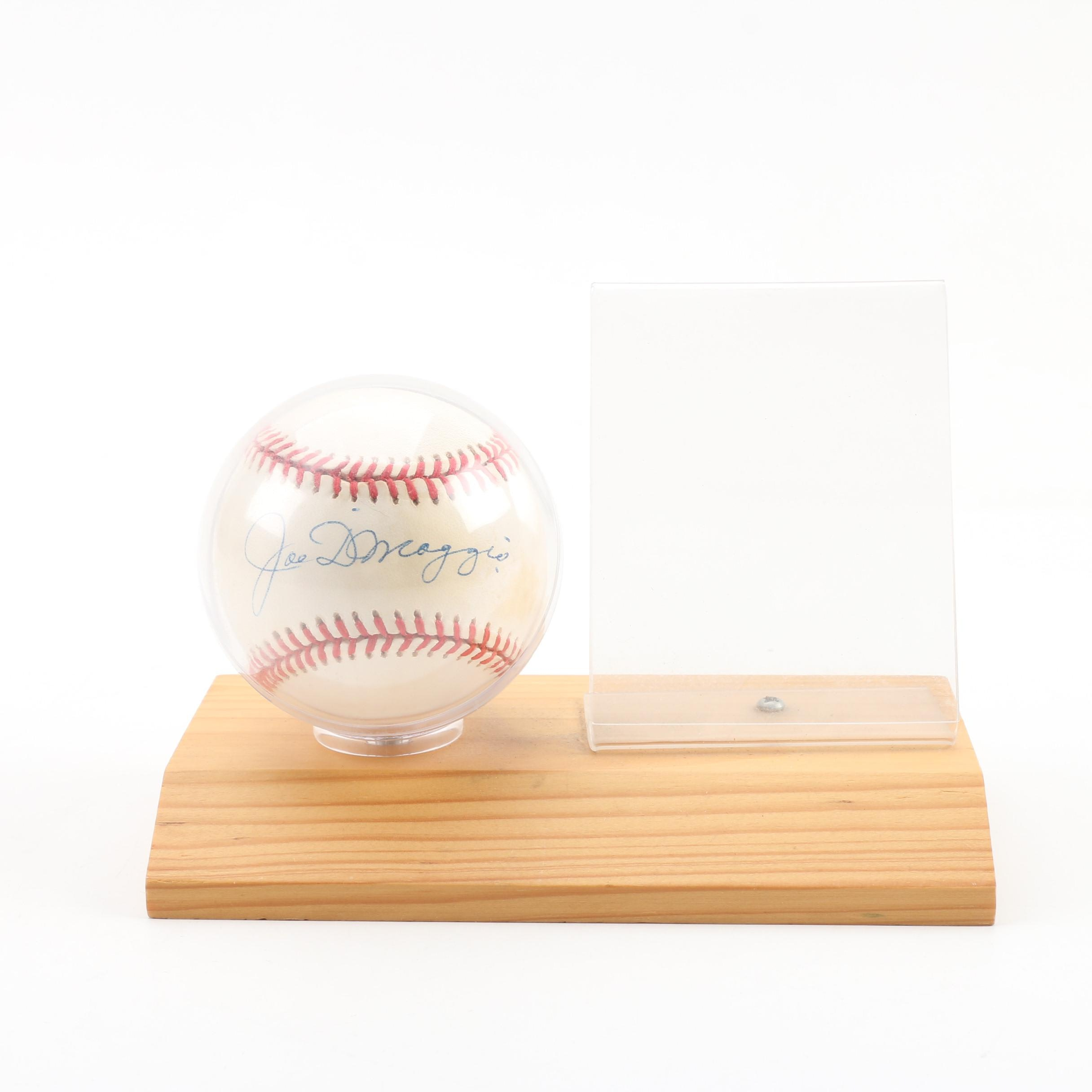 Joe DiMaggio Autographed Baseball with Presentation Stand