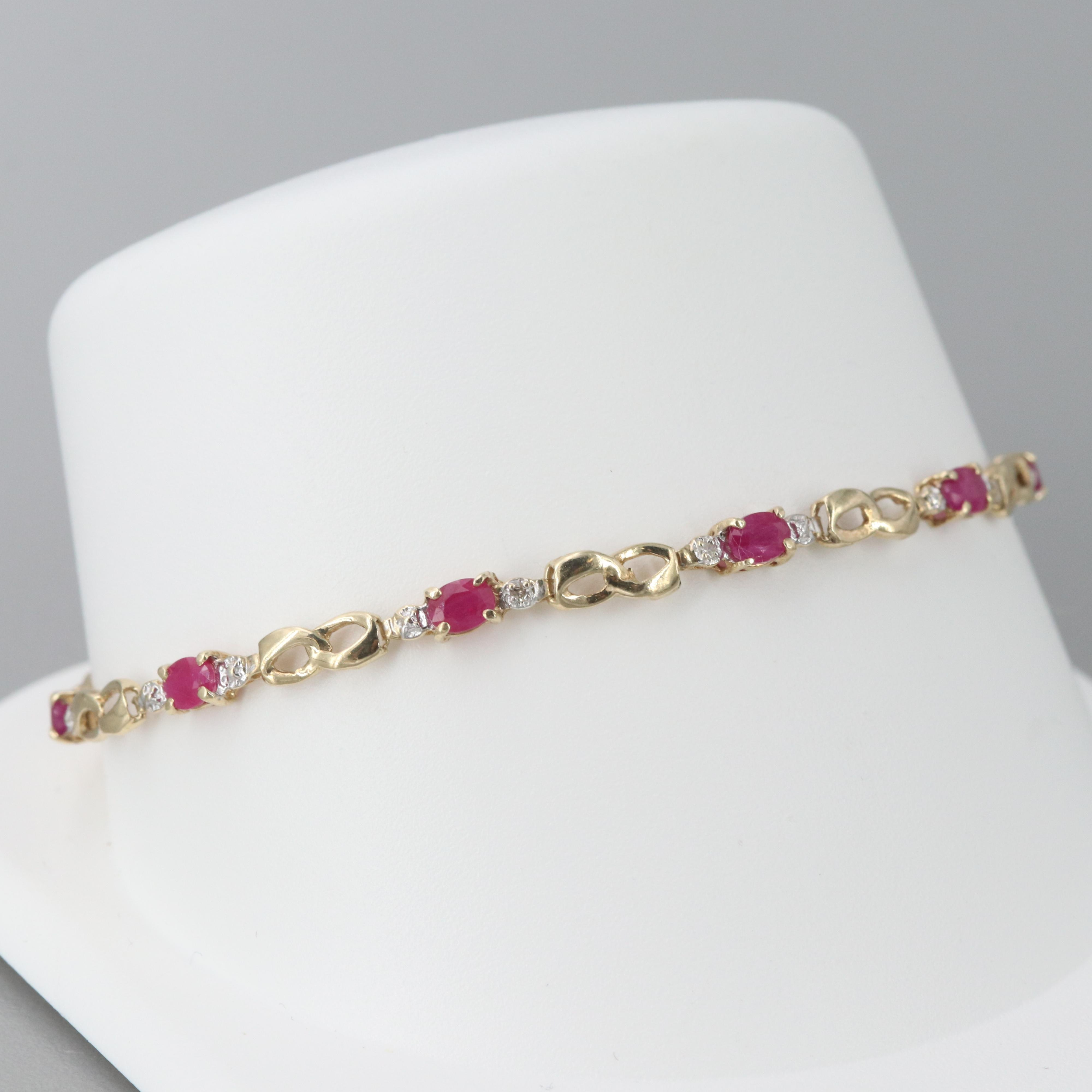 10K Yellow Gold Diamond and Ruby Bracelet
