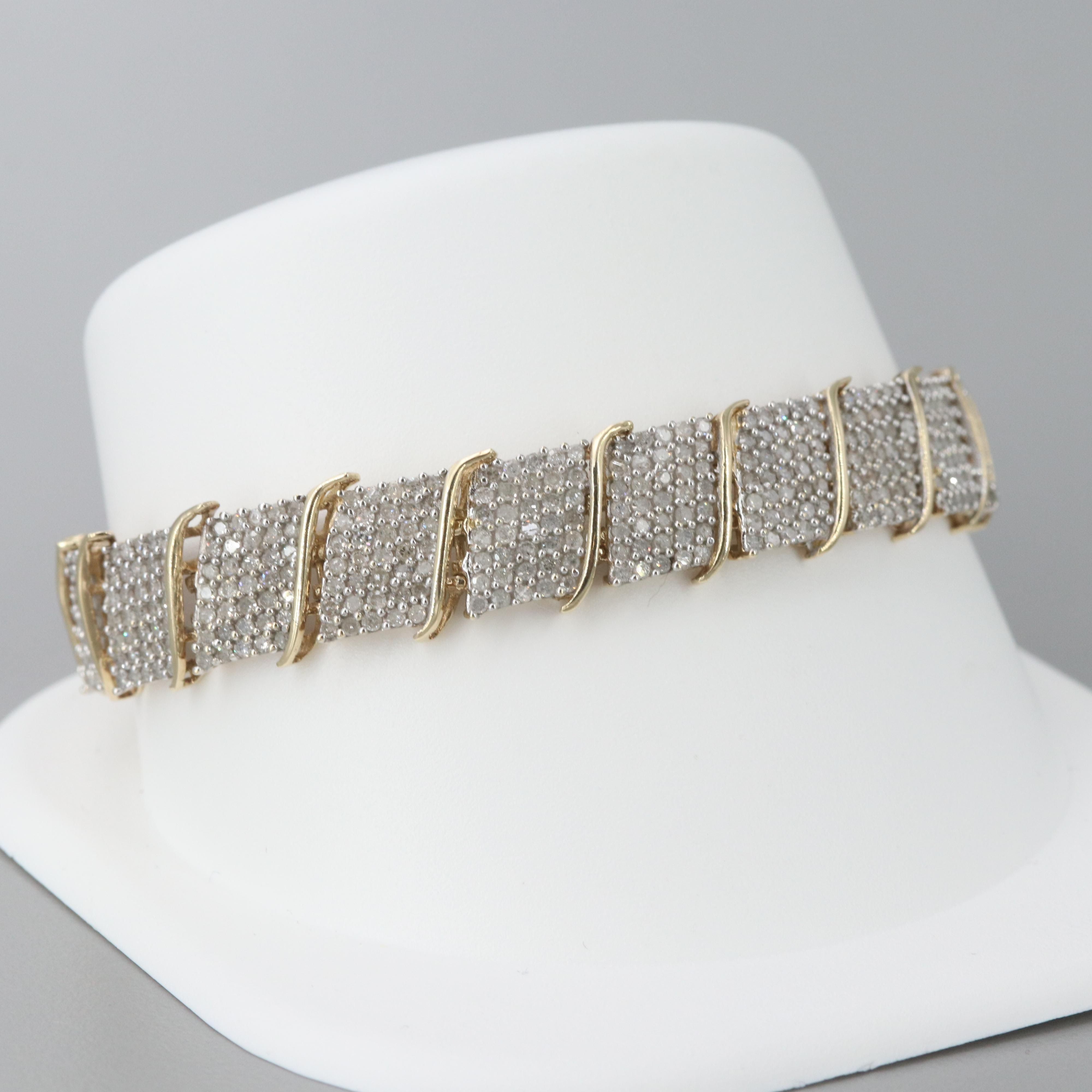 10K Yellow Gold 4.75 CTW Diamond Bracelet
