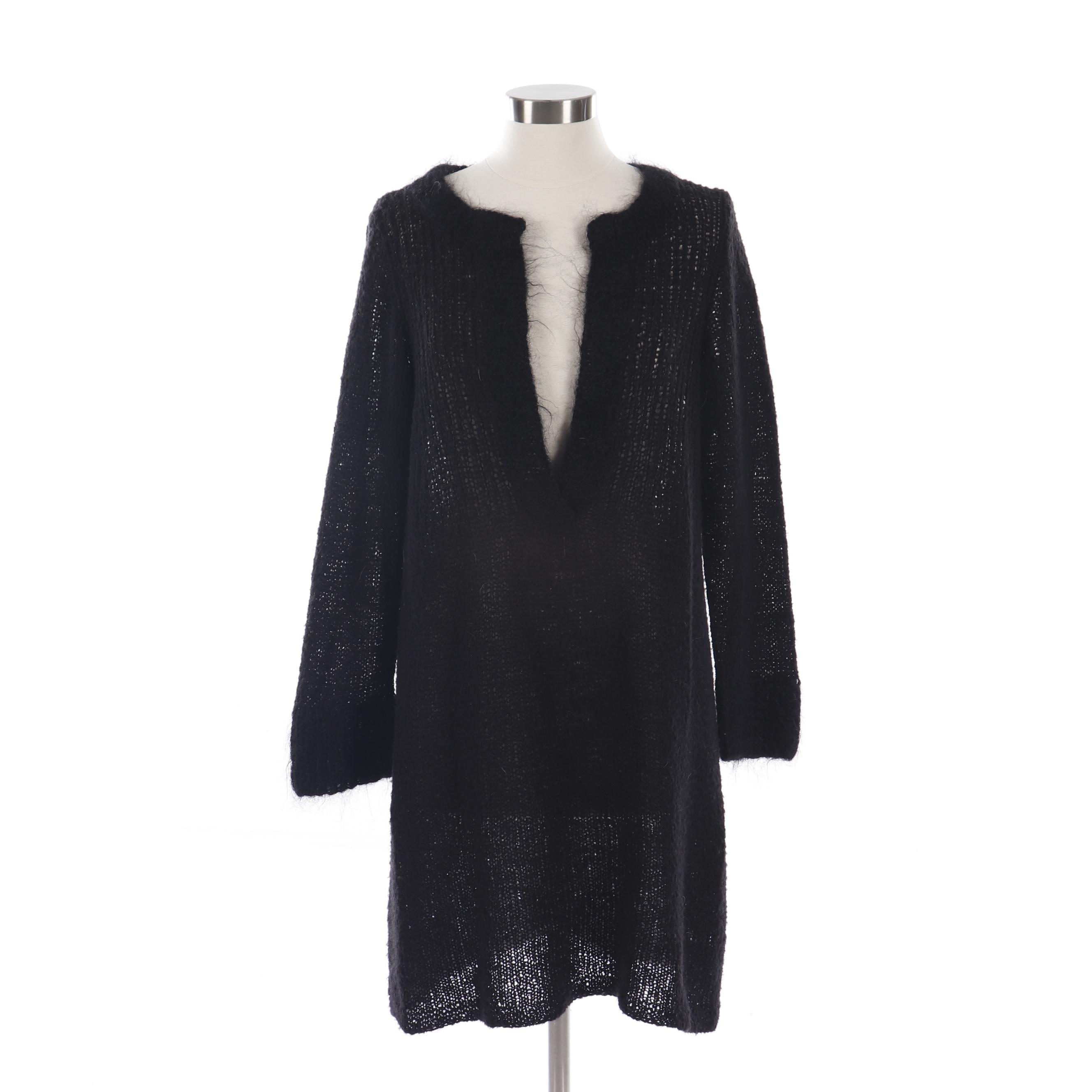 Robin Richman Black Wool Open Stitch Tunic-Length Sweater