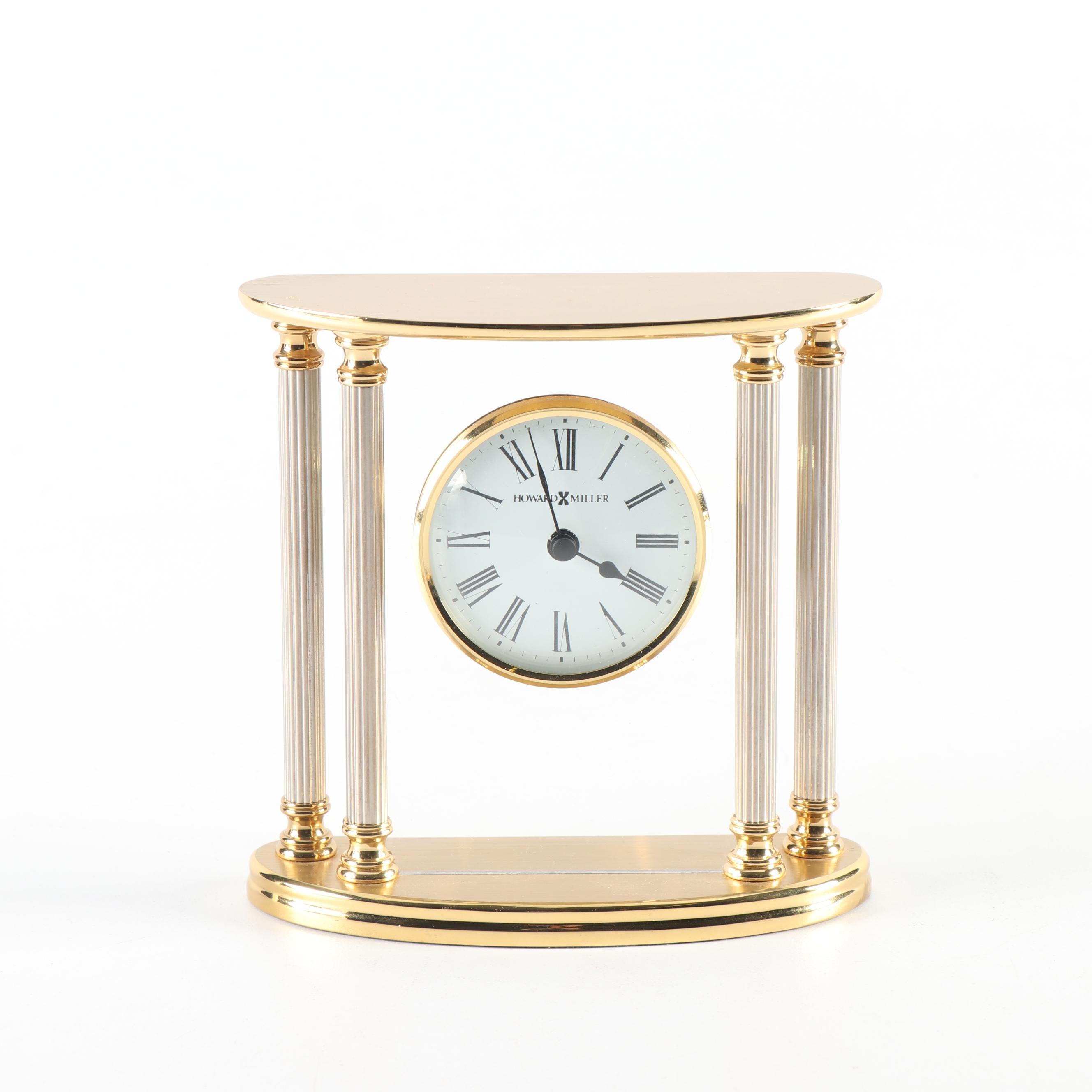 """Howard Miller """"New Orleans"""" Brass Table Clock"""