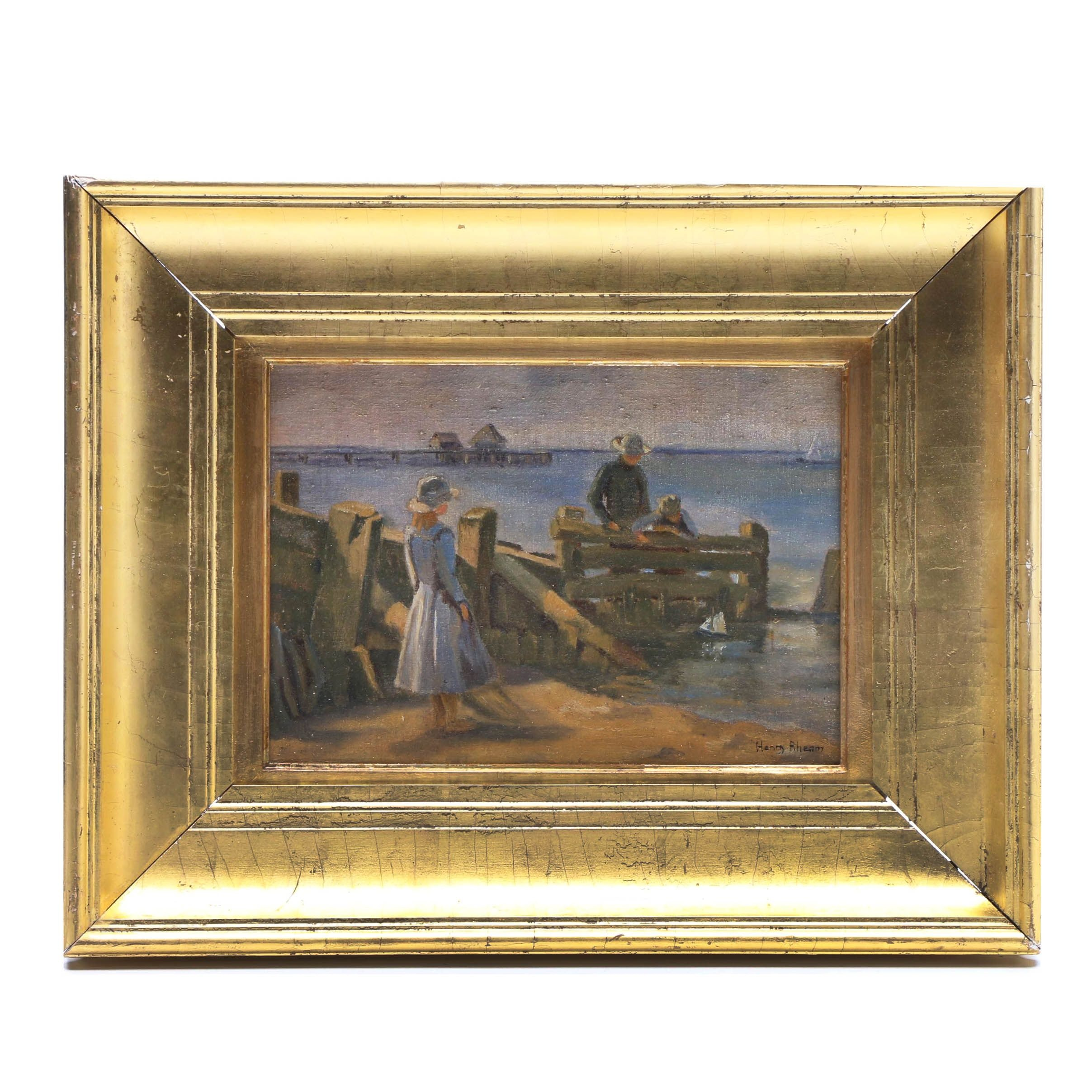 Henry Rheam Oil Painting of Coastal Scene with Figures
