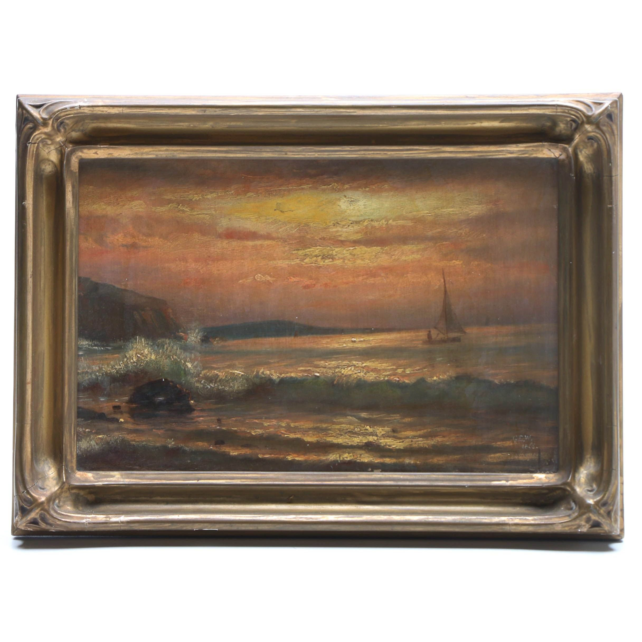G. C. W. 1865 Coastal Landscape Oil Painting