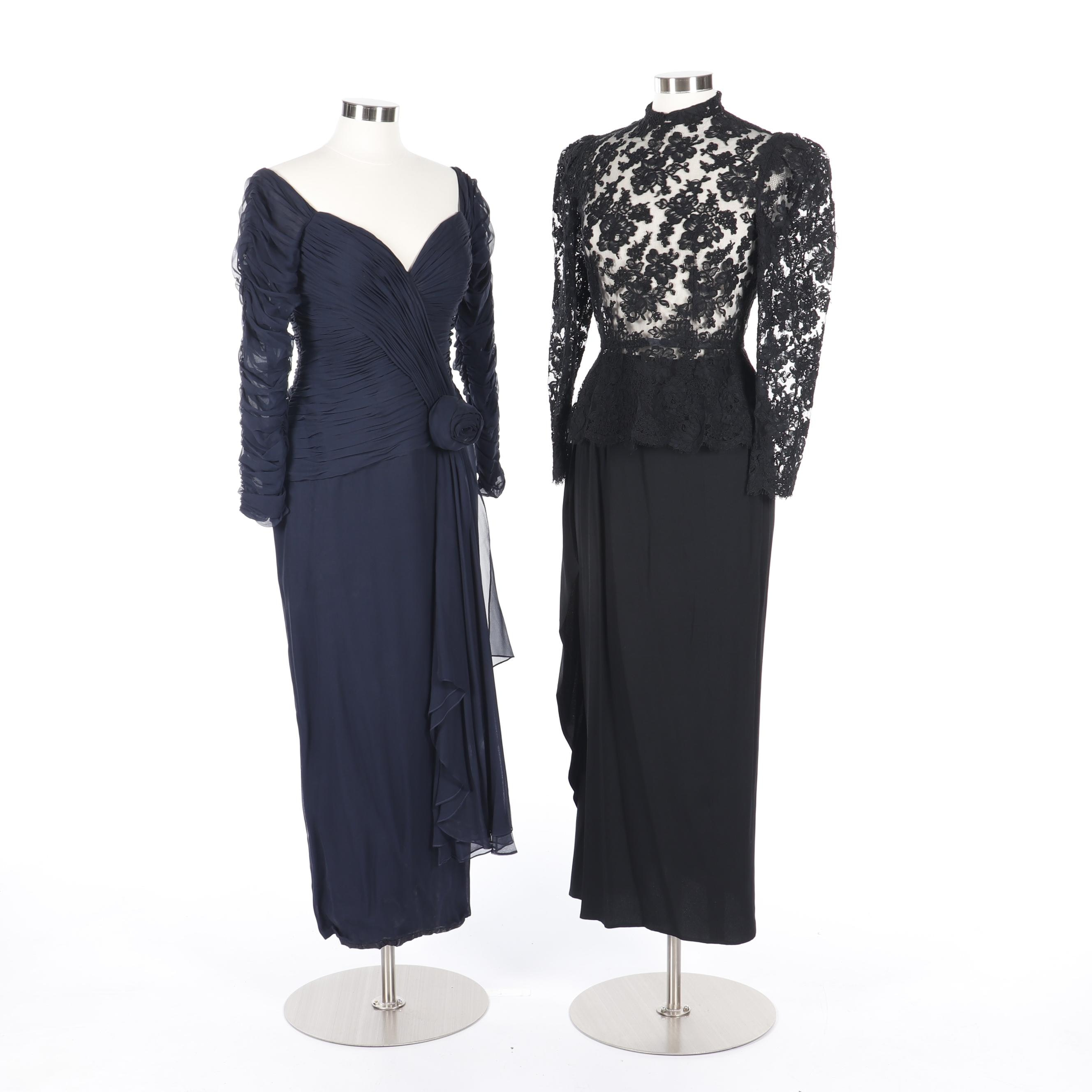 Navy Blue Plissé Chiffon Evening Dress and Black Lace Blouse with Long Skirt