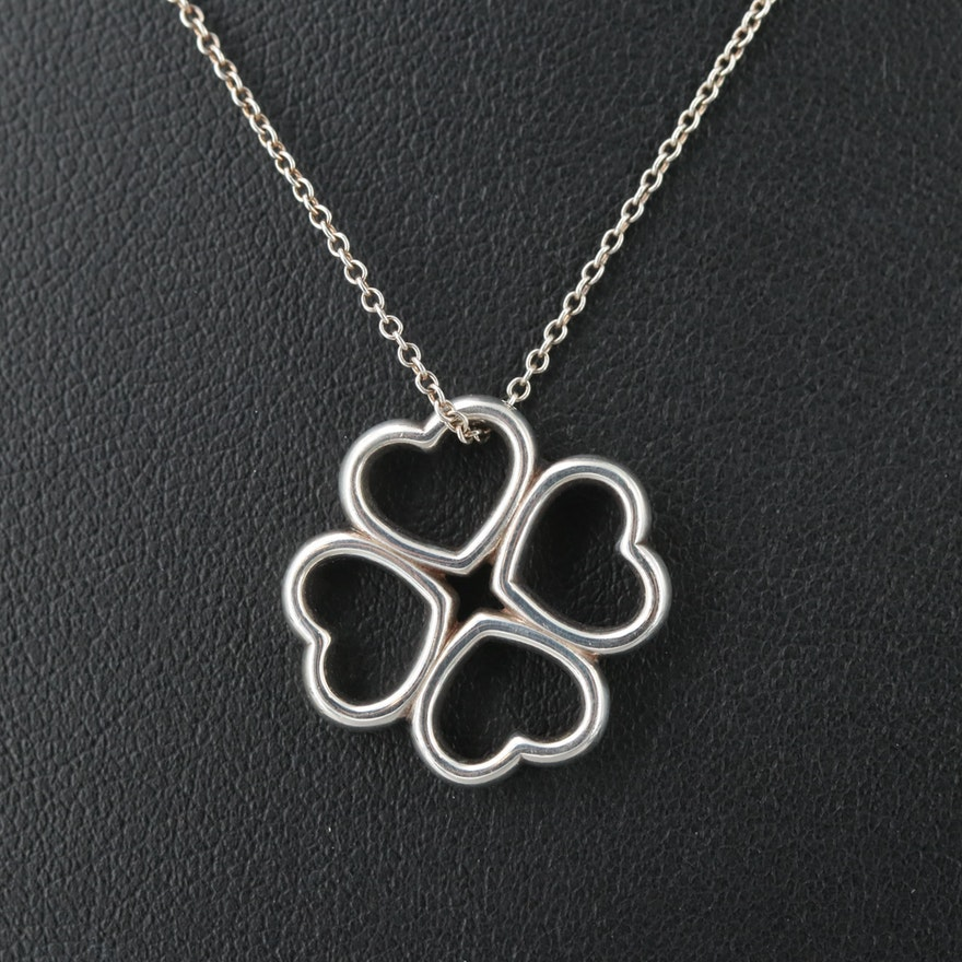 665314ae9 Tiffany & Co. Sterling Silver Four Hearts Clover Pendant Necklace | EBTH
