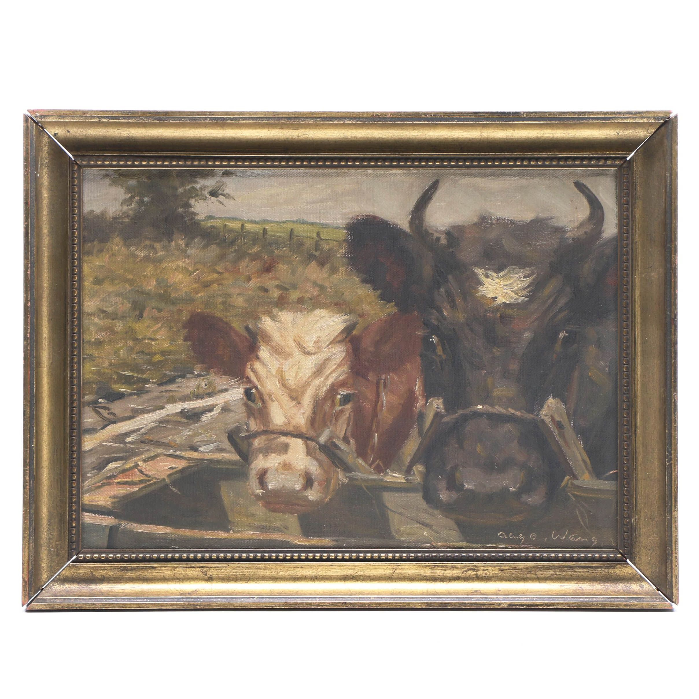 Aage Wang 1920s Bovine Oil Painting
