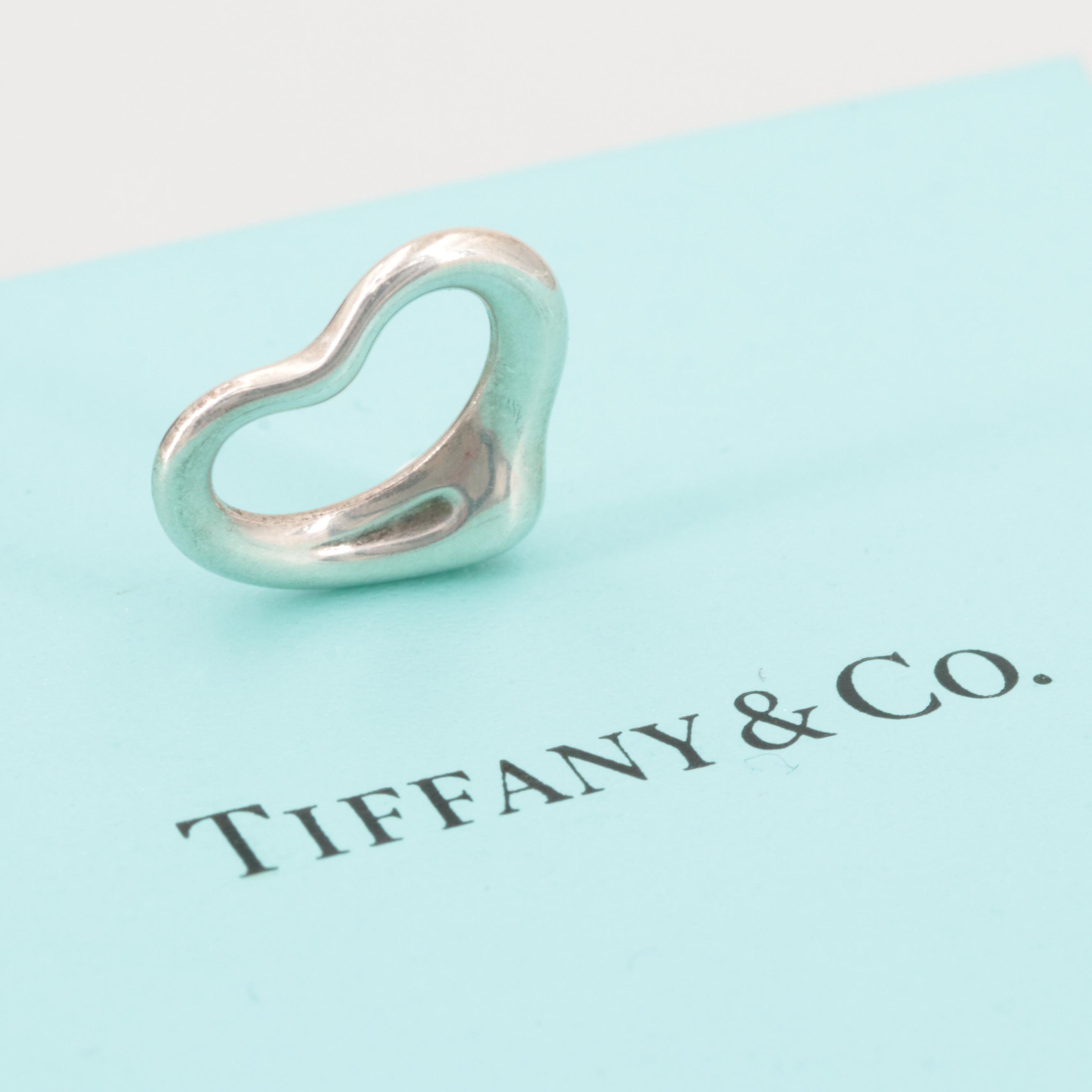 """Elsa Peretti for Tiffany & Co """"Open Heart"""" Sterling Silver Pendant Including Box"""