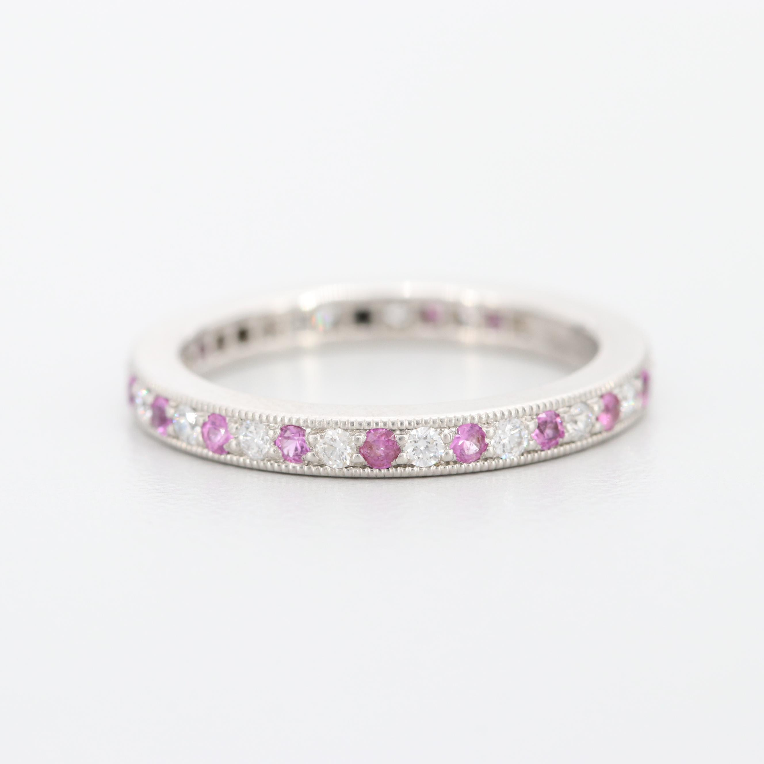 Tiffany & Co. Platinum Diamond and Pink Sapphire Eternity Ring with Box